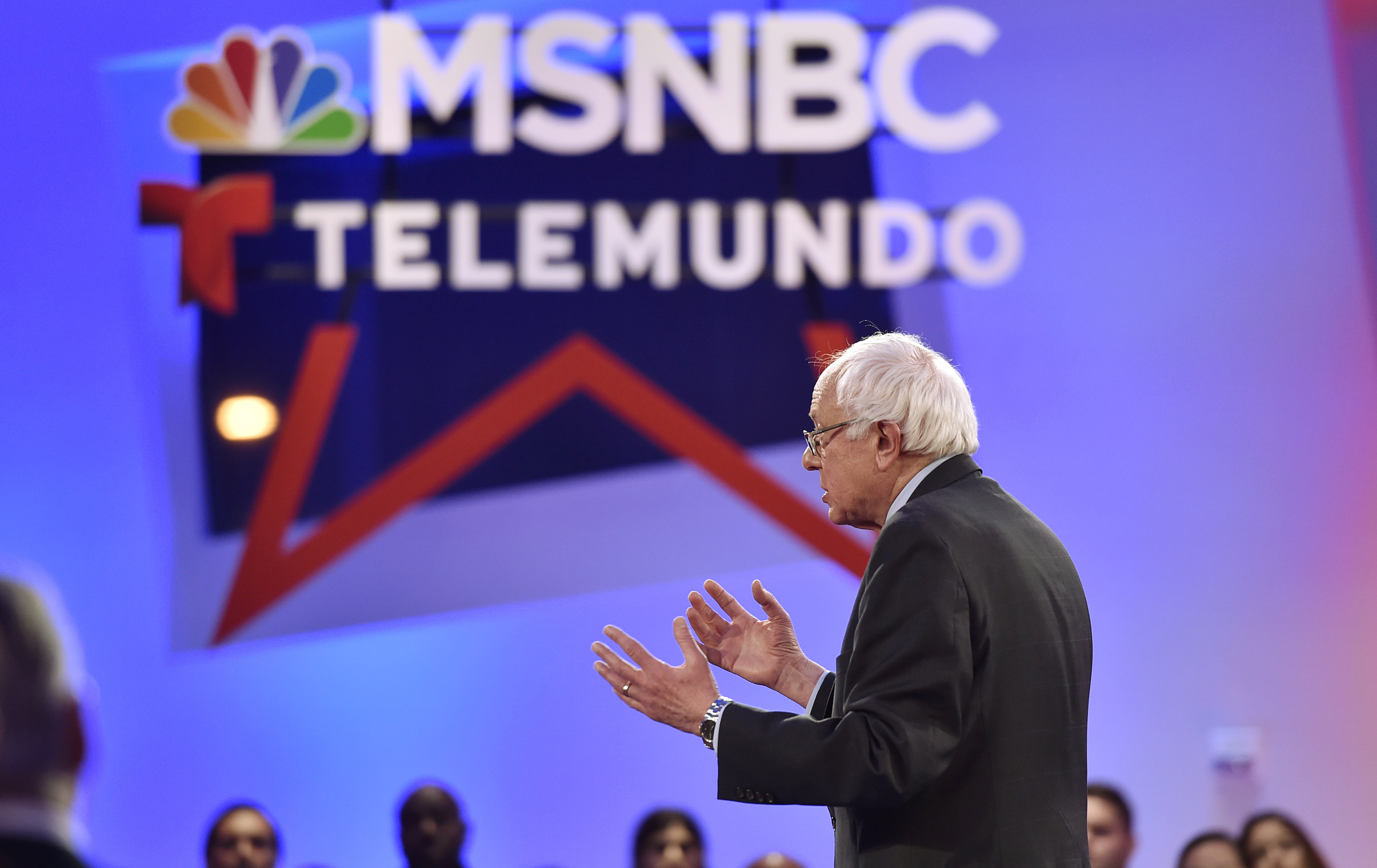 U.S. Democratic presidential candidate Bernie Sanders addreses the audience during a campaign town hall hosted by MSNBC and Telemundo in Las Vegas