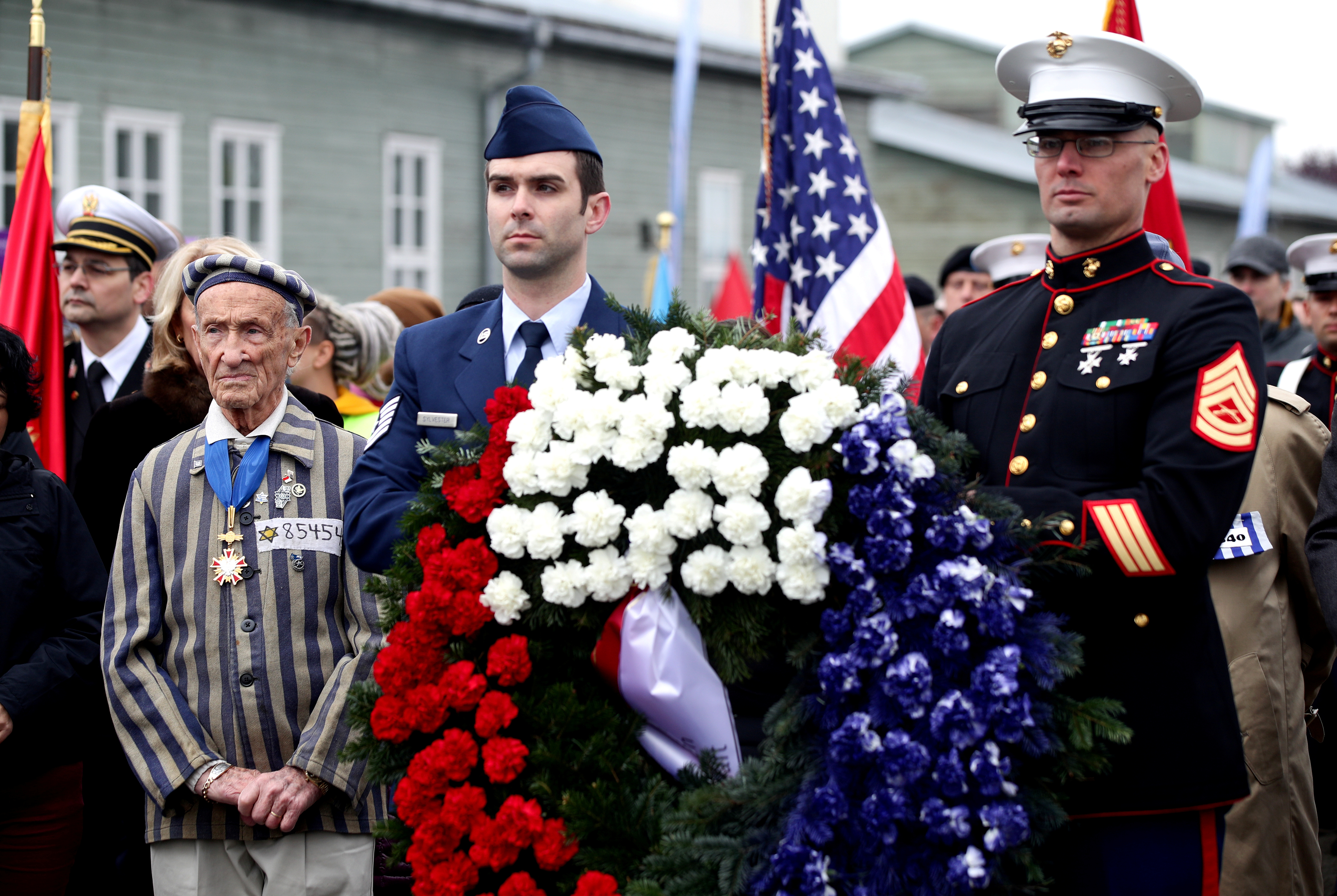Concentration camp survivor Ed Mosberg and a delegation from the U.S. attend the commemoration at the former concentration camp KZ Mauthausen, liberated by U.S. troops on May 5, 1945 at the memorial site in Mauthausen, Austria, May 5, 2019. REUTERS/Lisi Niesner - RC1559CBCDC0