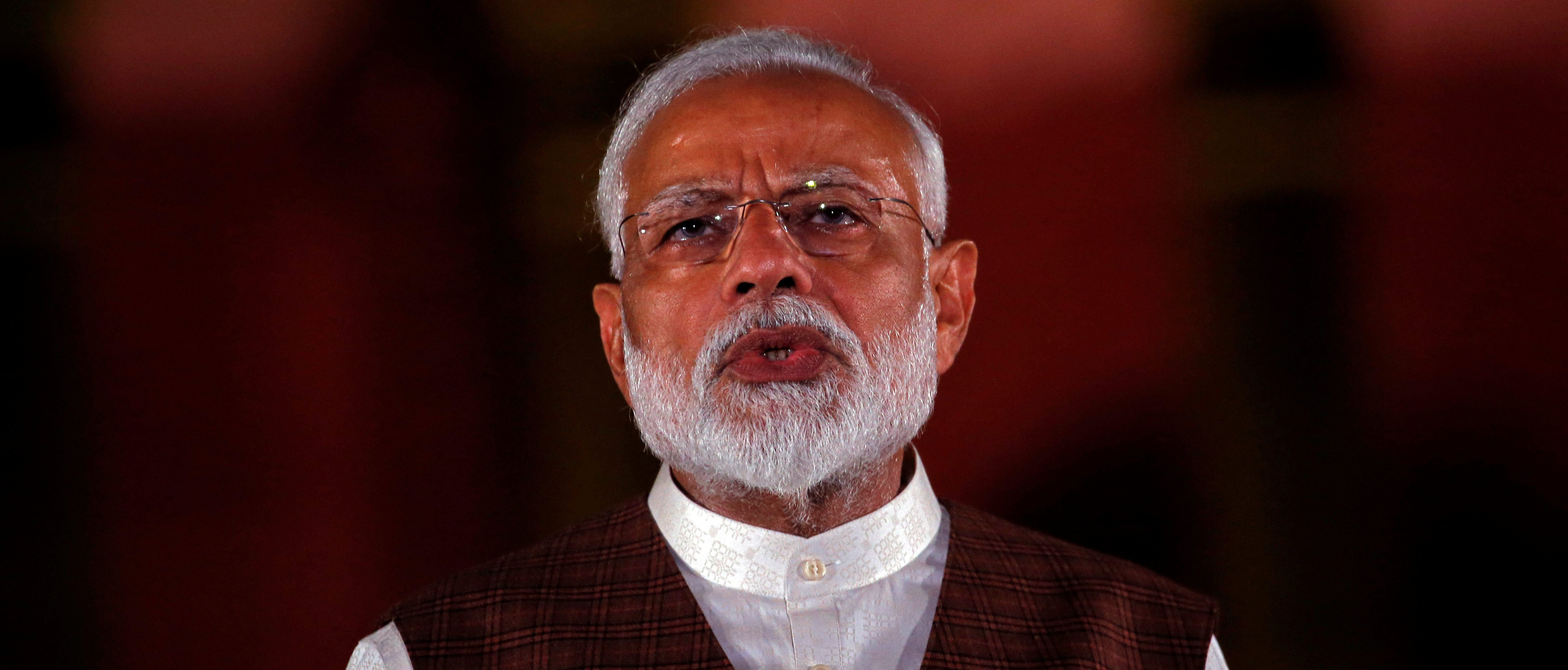 India's Prime Minister Narendra Modi speaks to the media after his meeting with President Ram Nath Kovind, to stake claim to form the new government at the Presidential Palace in New Delhi
