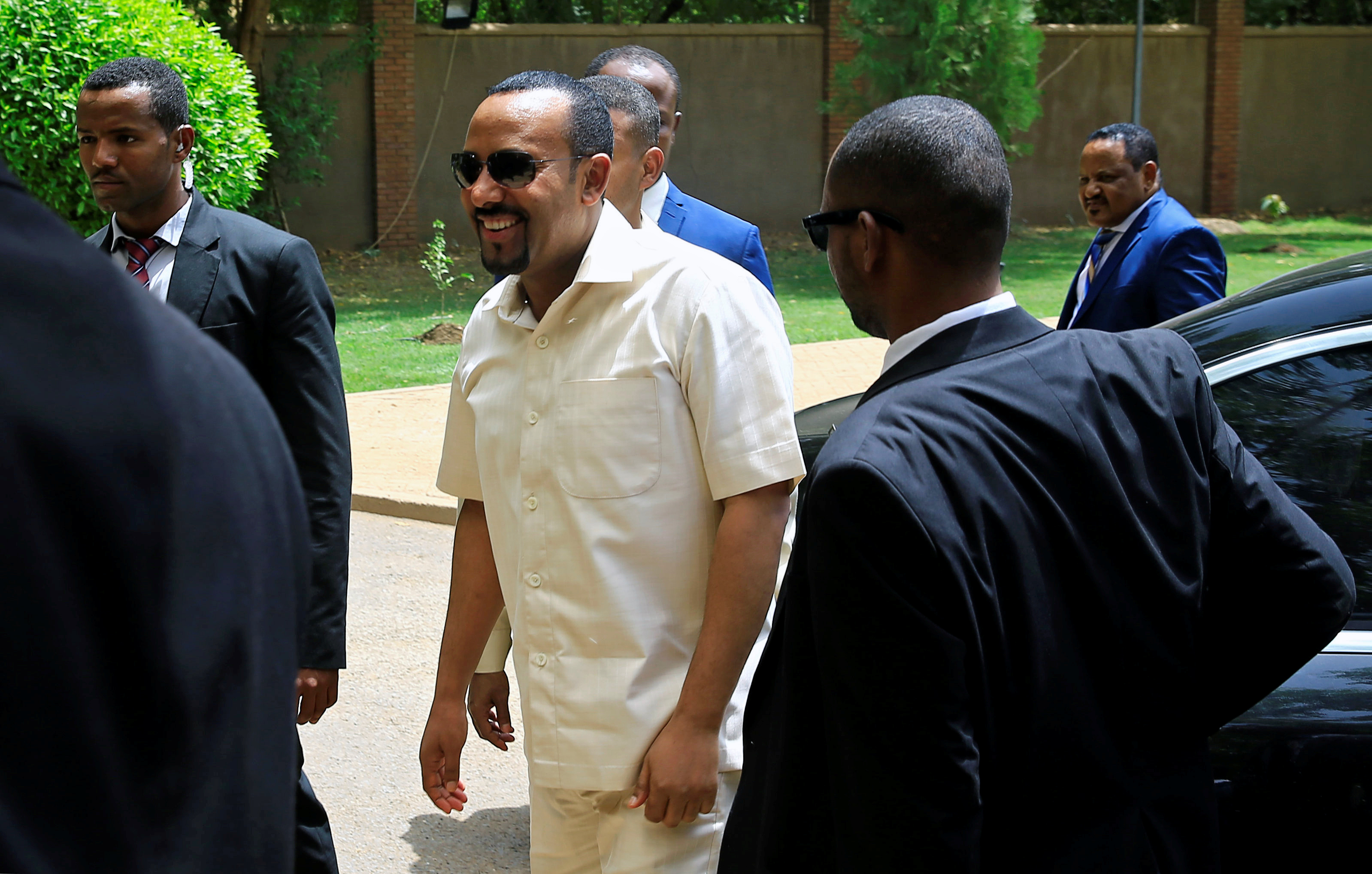 Ethiopian Prime Minister Abiy Ahmed arrives to meet members of Sudan's opposition alliance to mediate in the political crisis that has followed the overthrow of President Omar al-Bashir at the Ethiopian Embassy in Khartoum