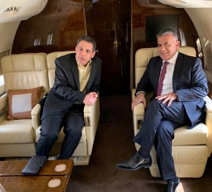 Freed Lebanese businessman Nizar Zakka, who was detained in Iran since 2015 for alleged anti-state activity, is pictured with Major General Abbas Ibrahim, Lebanon's internal security chief, aboard the plane in this handout released by Lebanese General Security Directorate on June 11, 2019. LEBANESE GENERAL SECURITY DIRECTORATE/Handout via REUTERS