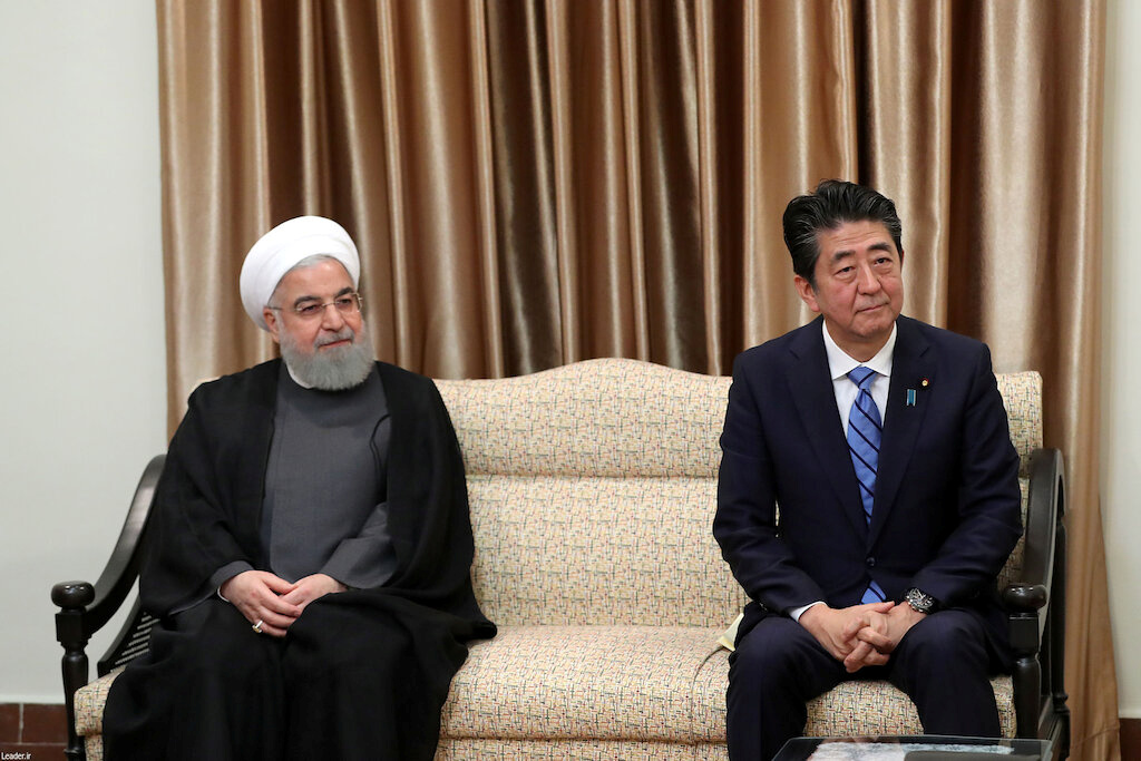 Iranian President Hassan Rouhani, Japan's Prime Minister Shinzo Abe meet with the Iran's Supreme Leader Ayatollah Ali Khamenei in Tehran, Iran June 13, 2019. Official Khamenei website/Handout via REUTERS