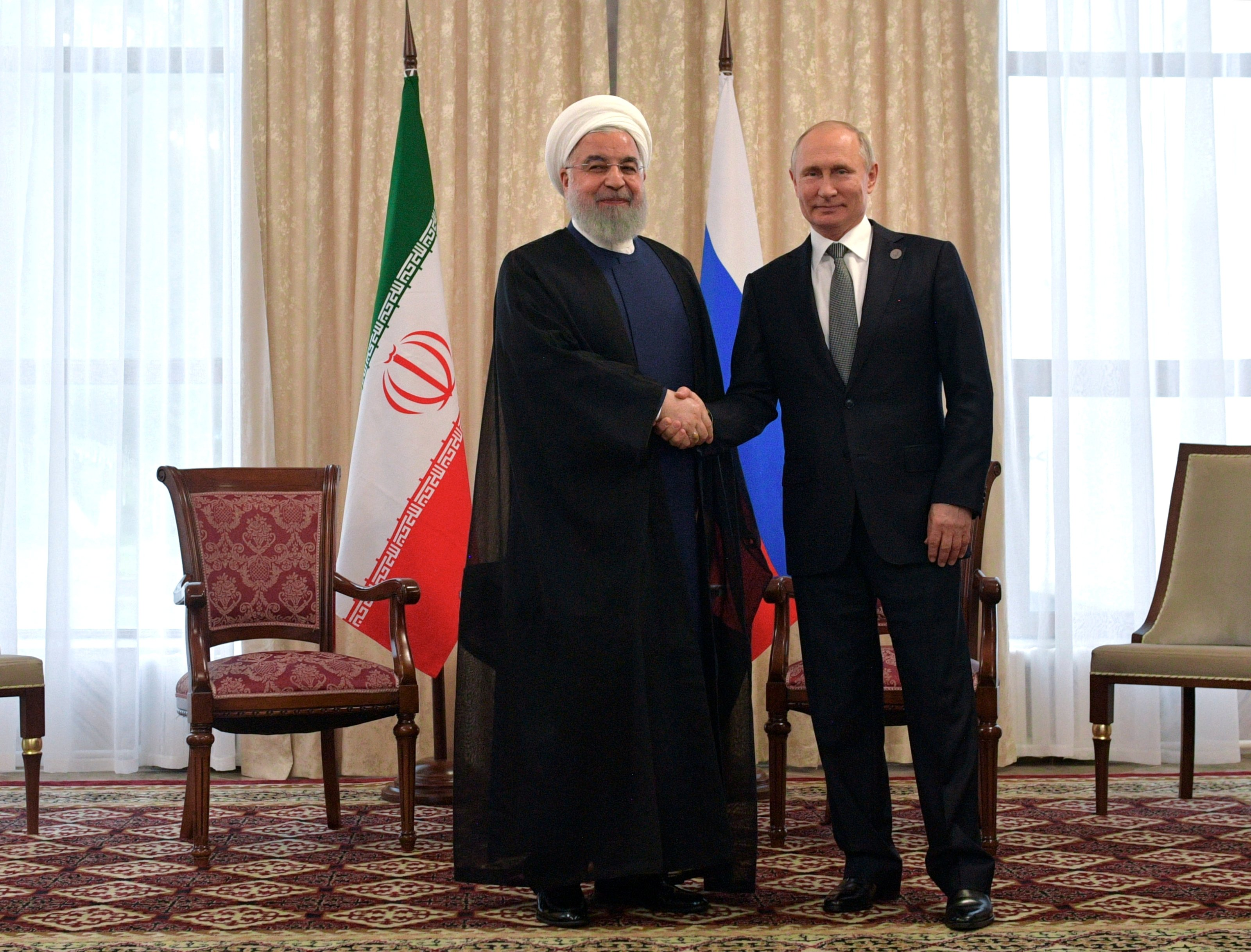 Russia's President Vladimir Putin and Iran's President Hassan Rouhani attend a meeting on the sidelines of the Shanghai Cooperation Organisation (SCO) summit in Bishkek, Kyrgyzstan June 14, 2019. Sputnik/Alexei Druzhinin/Kremlin via REUTERS