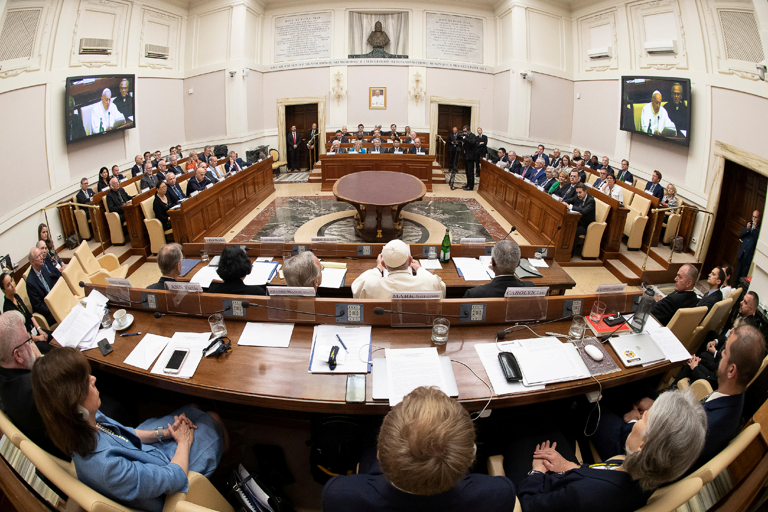 Pope Francis addresses energy representatives at the end of a two-day meeting at the Academy of Sciences, at the Vatican
