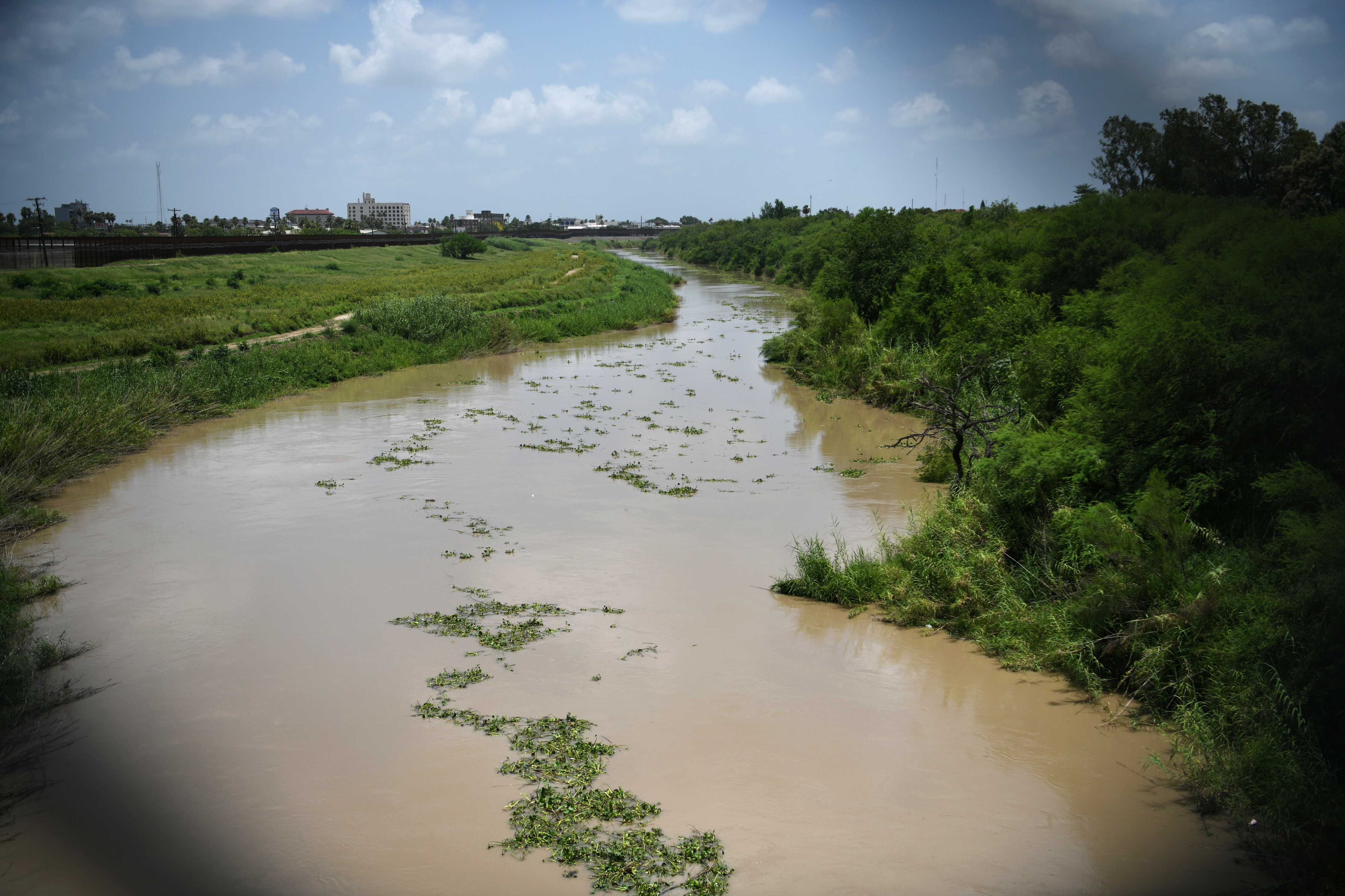 The Rio Grande is pictured from the Mexican side of the Brownsville-Matamoros International Bridge