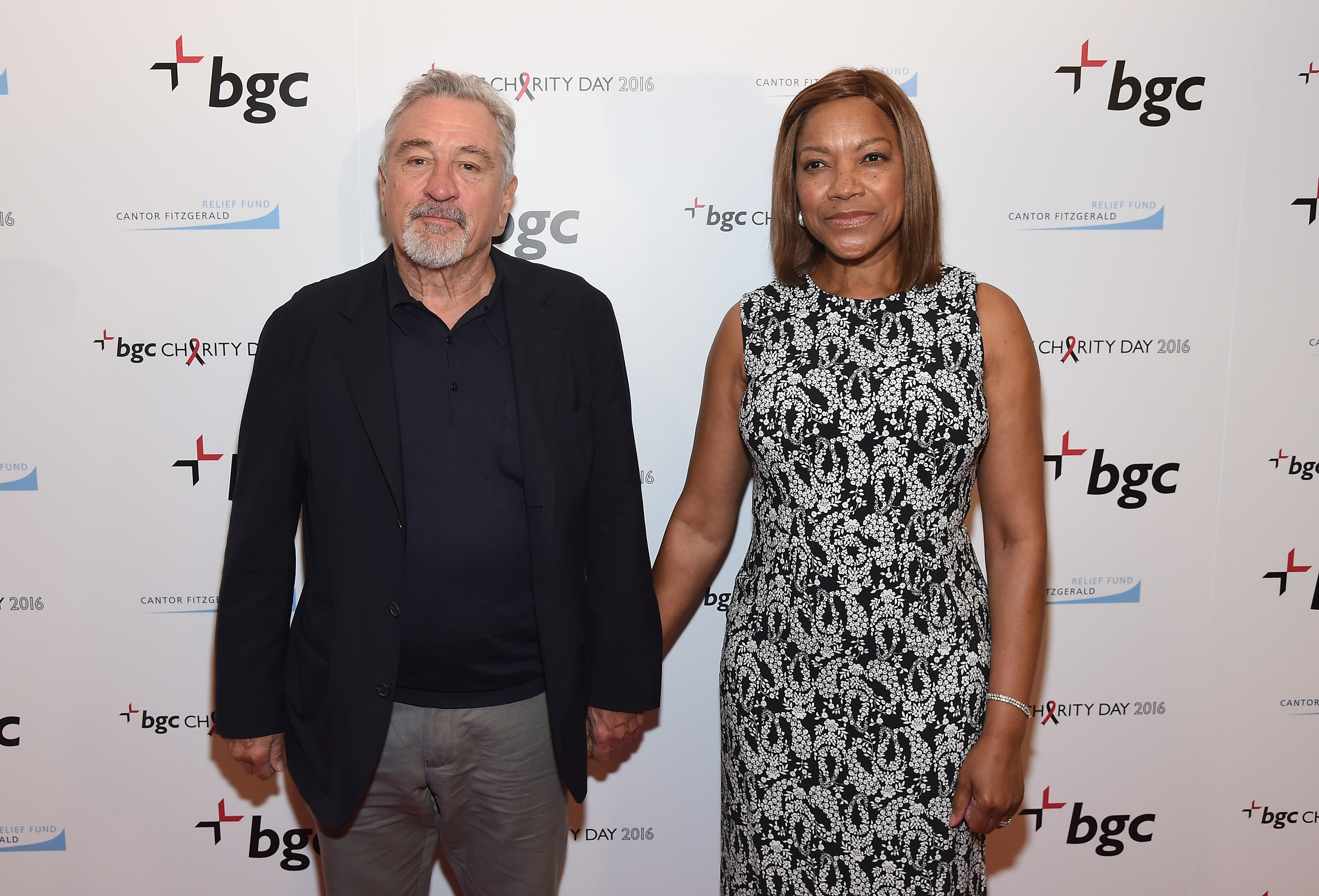 Actor Robert De Niro (L) and Grace Hightower attend Annual Charity Day hosted by Cantor Fitzgerald, BGC and GFI at BGC Partners, INC on September 12, 2016 in New York City. (Photo by Larry Busacca/Getty Images for Cantor Fitzgerald)