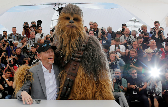"71st Cannes Film Festival - Photocall for the film ""Solo: A Star Wars Story"" Out of Competition†- Cannes, France, May 15, 2018. Director Ron Howard with cast member Chewbacca. REUTERS/Regis Duvignau"