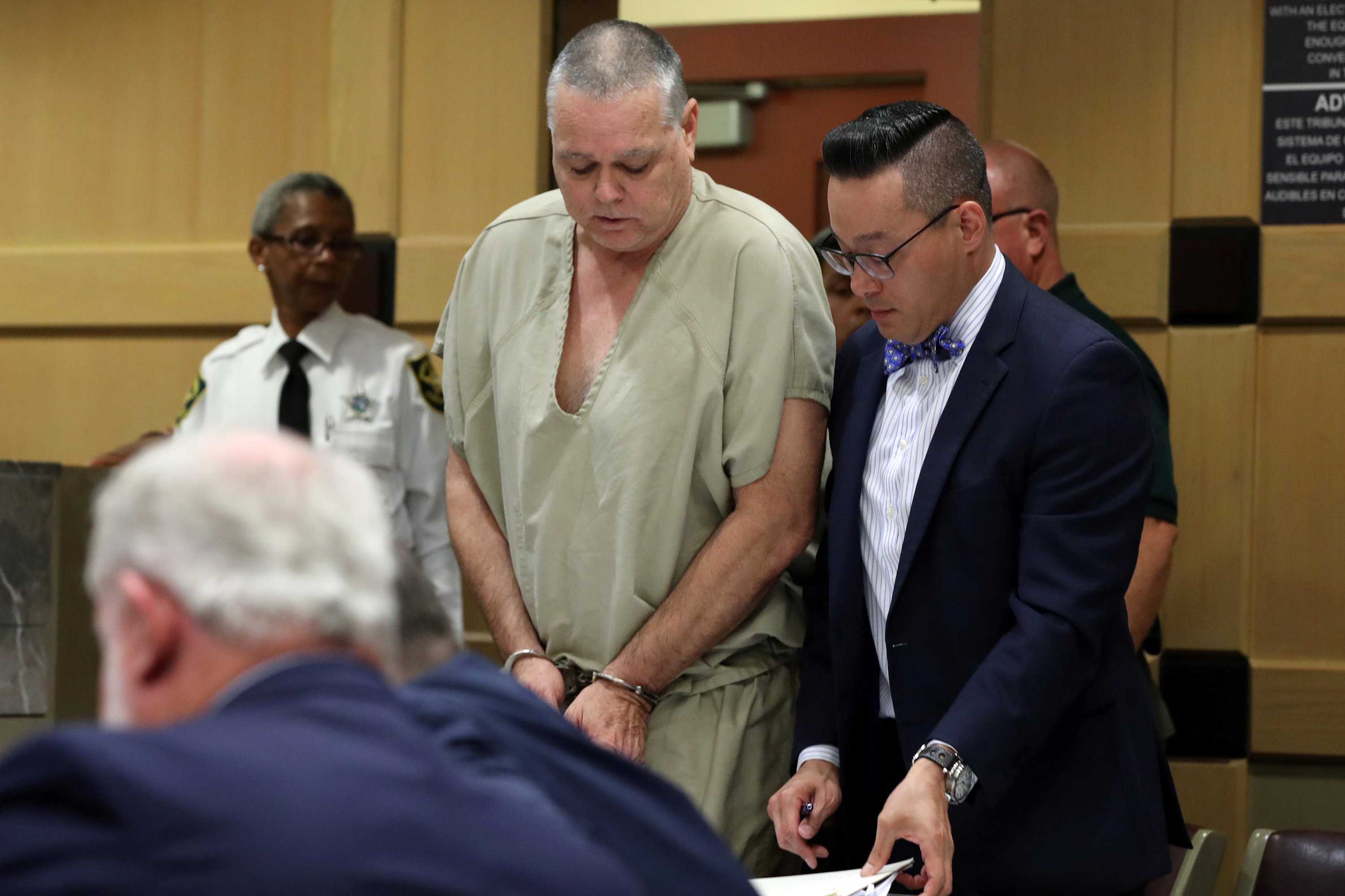 Former Broward County sheriff's deputy Scot Peterson and his defense attorney Joseph DiRuzzo (R) attend a court hearing at the Broward County Courthouse in Fort Lauderdale, Florida, U.S., June 6, 2019. Amy Beth Bennett/South Florida Sun Sentinel/Pool via REUTERS