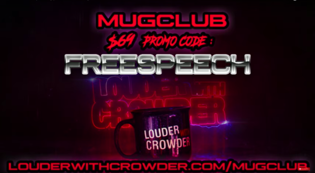 "Steven Crowder's advertisement for Mug Club that uses the ""Freespeech"" promo code in response to the ""Vox Adpocalypse."" (Youtube)"
