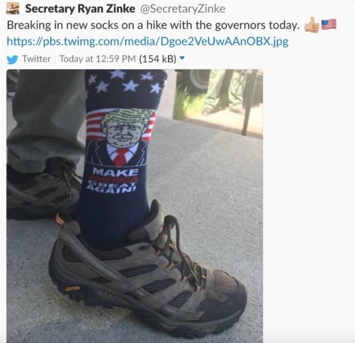 Ryan Zinke's Tweet Showing His MAGA Socks