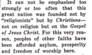 """A portion of a commentary on the Christian faith of Patrick Henry in""""The Virginian"""" magazine, April 1956. Courtesy of The Library of Virginia."""