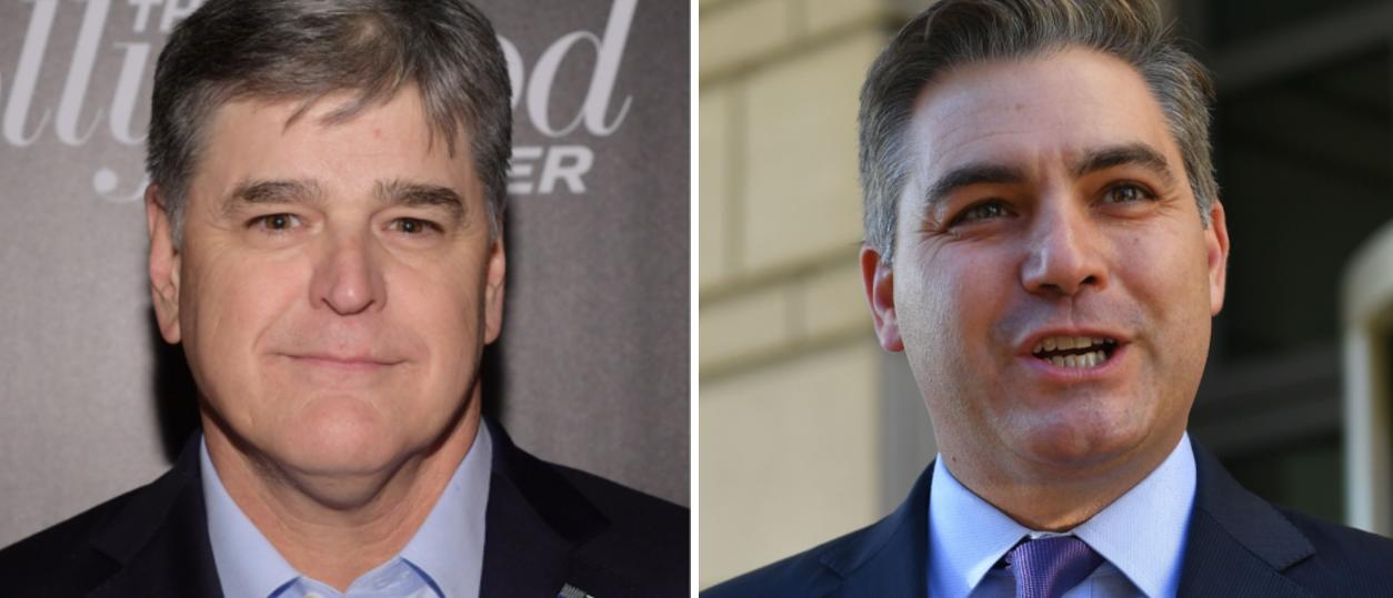 Sean Hannity (Ben Gabbe, Getty) left, Jim Acosta (Mandel Ngan, AFP Getty) right