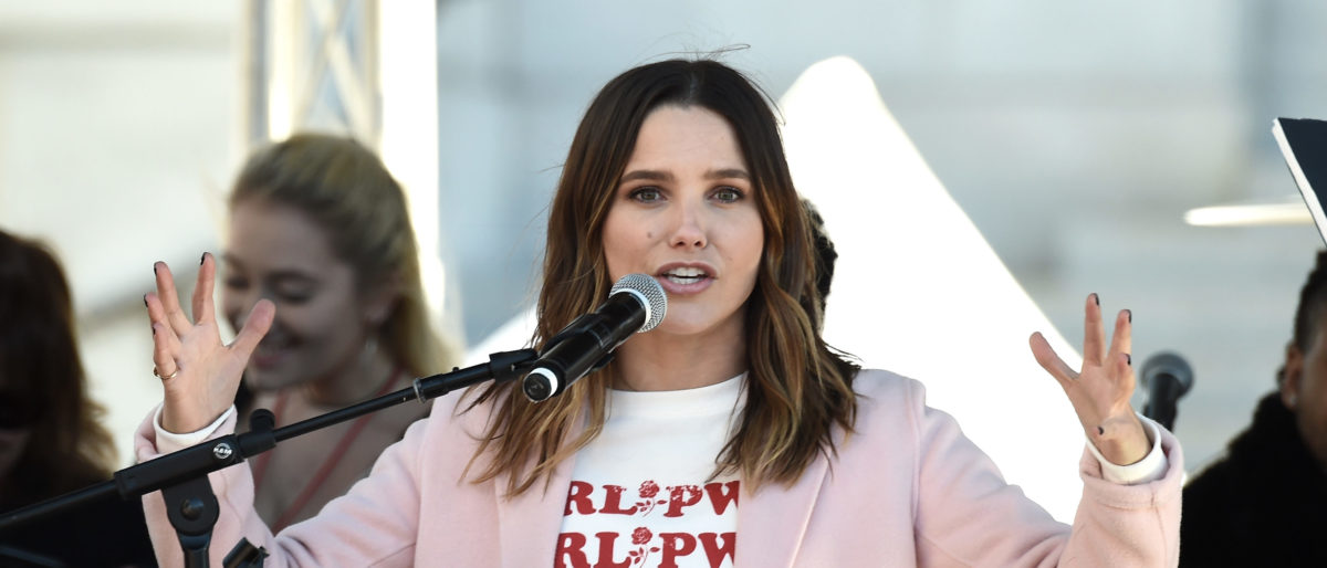 Actor Sophia Bush speaks onstage at 2018 Women's March Los Angeles at Pershing Square on January 20, 2018 in Los Angeles, California. (Photo by Amanda Edwards/Getty Images for The Women's March Los Angeles)