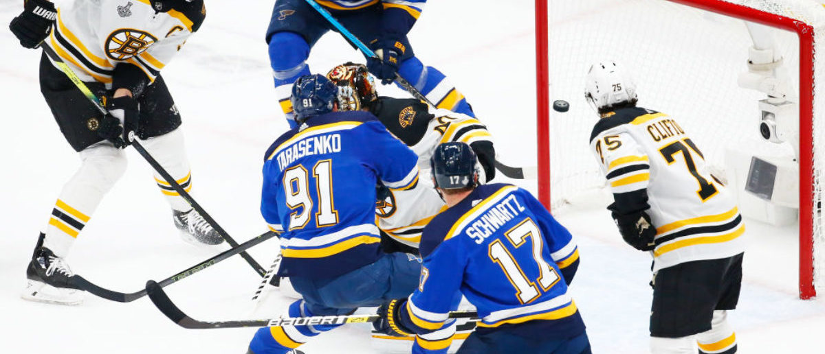 ST LOUIS, MISSOURI - JUNE 03: Vladimir Tarasenko #91 of the St. Louis Blues scores a first period goal past Tuukka Rask #40 of the Boston Bruins at 15:30 in Game Four of the 2019 NHL Stanley Cup Final at Enterprise Center on June 03, 2019 in St Louis, Missouri. (Photo by Dilip Vishwanat/Getty Images)