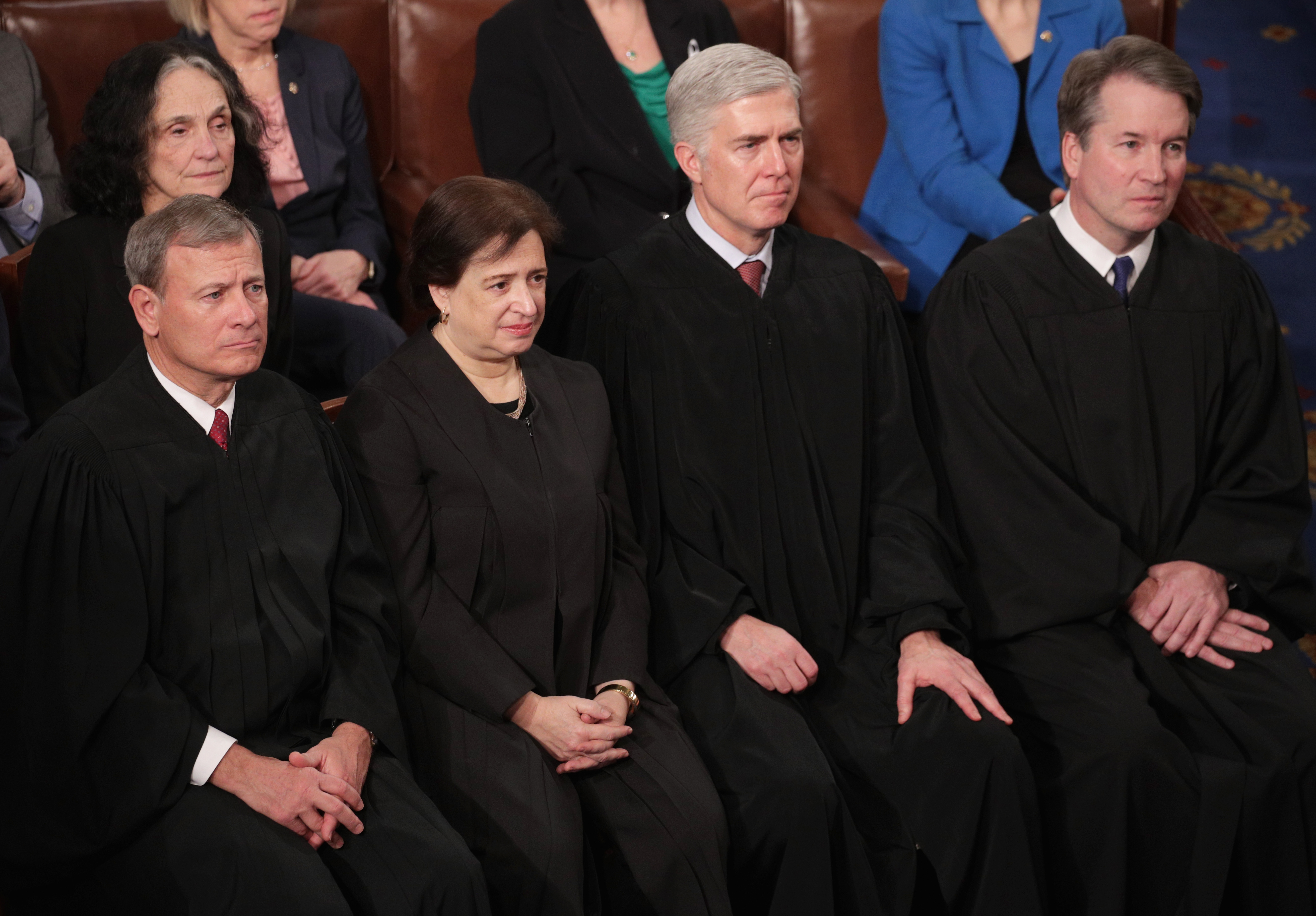 Chief Justice John Roberts and Justices Elena Kagan, Neil Gorsuch, and Brett Kavanaugh look on as President Donald Trump delivers the State of the Union address on February 5, 2019. (Alex Wong/Getty Images)