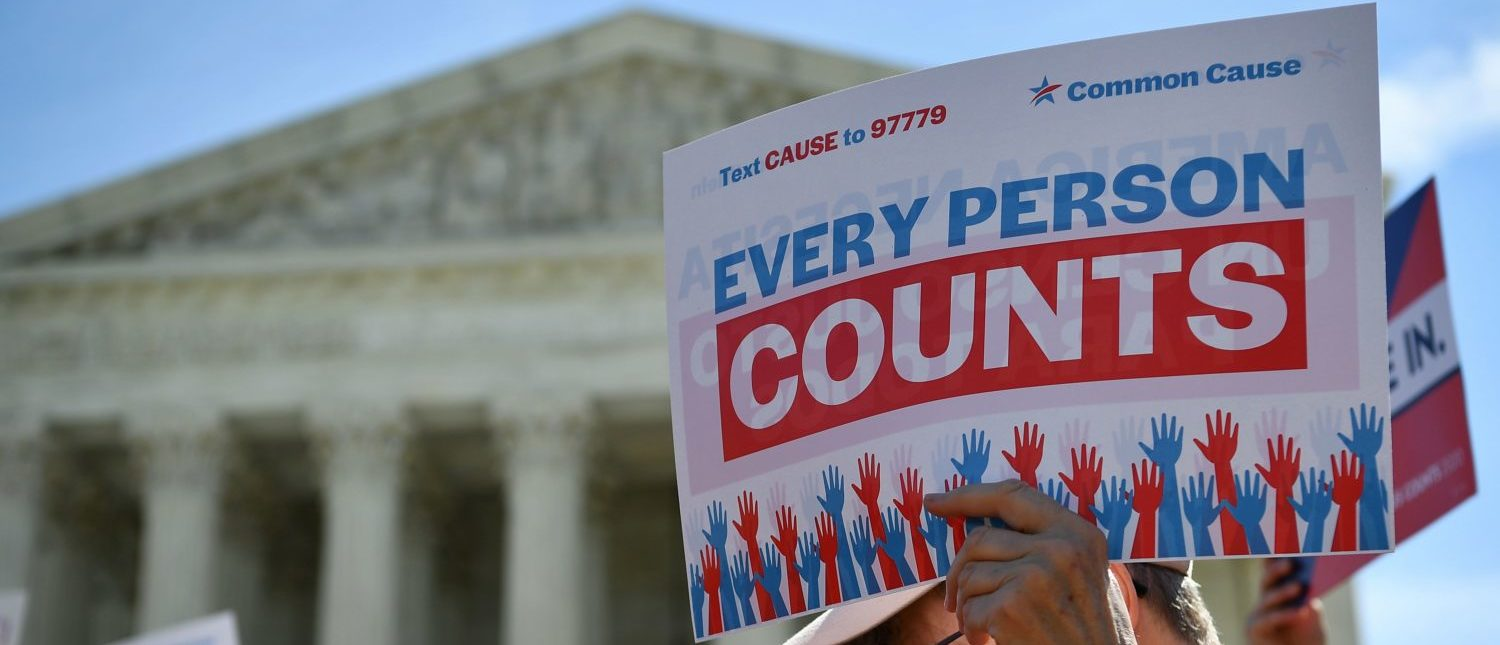 Demonstrators rally at the Supreme Court on April 23, 2019 to protest a proposal to add a citizenship question in the 2020 Census. (Mandel Ngan/AFP/Getty Images)