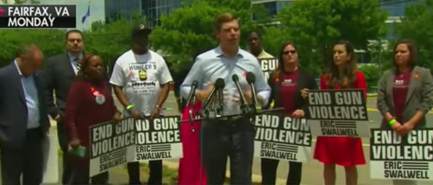 Eric Swalwell Rally at NRA headquarters in Fairfax, VA on June 17, 2019. Photo Youtube Screenshot.