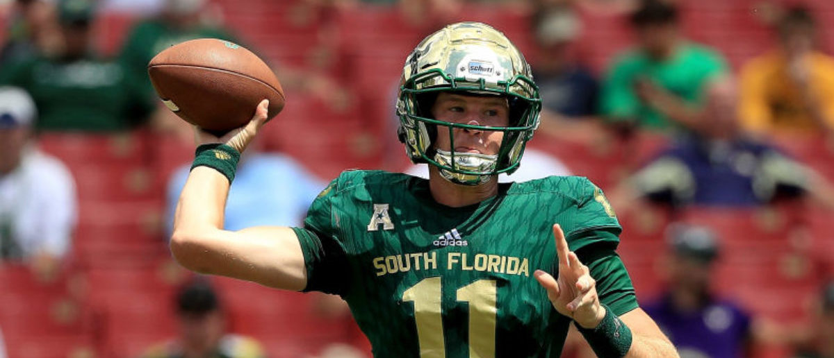 TAMPA, FL - SEPTEMBER 08: Blake Barnett #11 of the South Florida Bulls passes during a game against the Georgia Tech Yellow Jackets at Raymond James Stadium on September 8, 2018 in Tampa, Florida. (Photo by Mike Ehrmann/Getty Images)