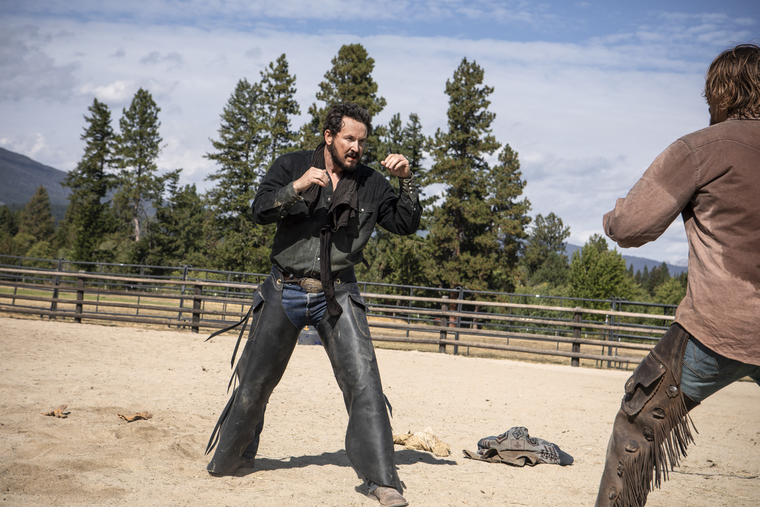 "Kayce (R-Luke Grimes) and Rip (L-Cole Hauser) come to blows on Yellowstone season 2 episode ""New Beginnings"" airing on Wednesday, June 26 at 10 p.m., ET/PT on Paramount Network. (Credit: Paramount Network)"