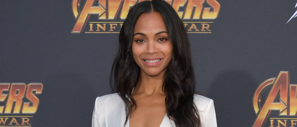 Zoe Saldana arrives at the Premiere Of Disney And Marvel's 'Avengers: Infinity War' on April 23, 2018 in Los Angeles, California. (Photo by Neilson Barnard/Getty Images)
