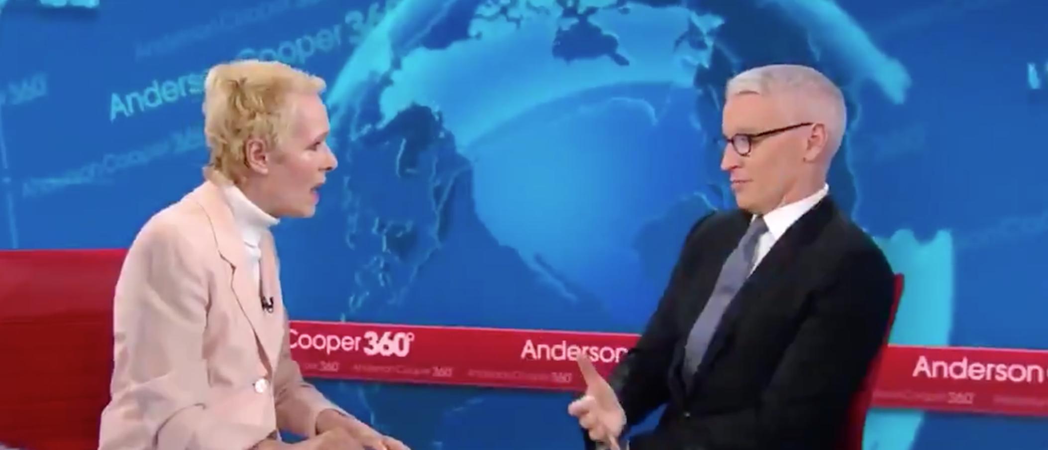 Anderson Cooper s'entretient avec E. Jean Carroll, chroniqueur des conseils de Elle. Capture d'écran / CNN