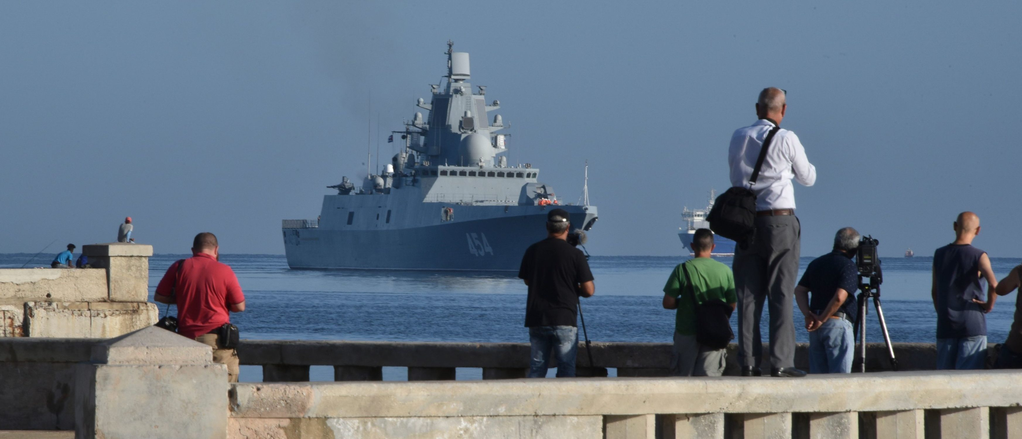 Vessels of the Russian Federation Navy arrive at the port of Havana, on June 24, 2019. (ADALBERTO ROQUE/AFP/Getty Images)