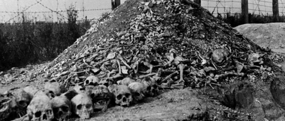 A pile of human bones and skulls is seen in 1944 at the Nazi concentration camp of Majdanek in the outskirts of Lublin, the second largest death camp in Poland after Auschwitz, following its liberation in 1944 by Russian troops. (AFP/Getty Images)