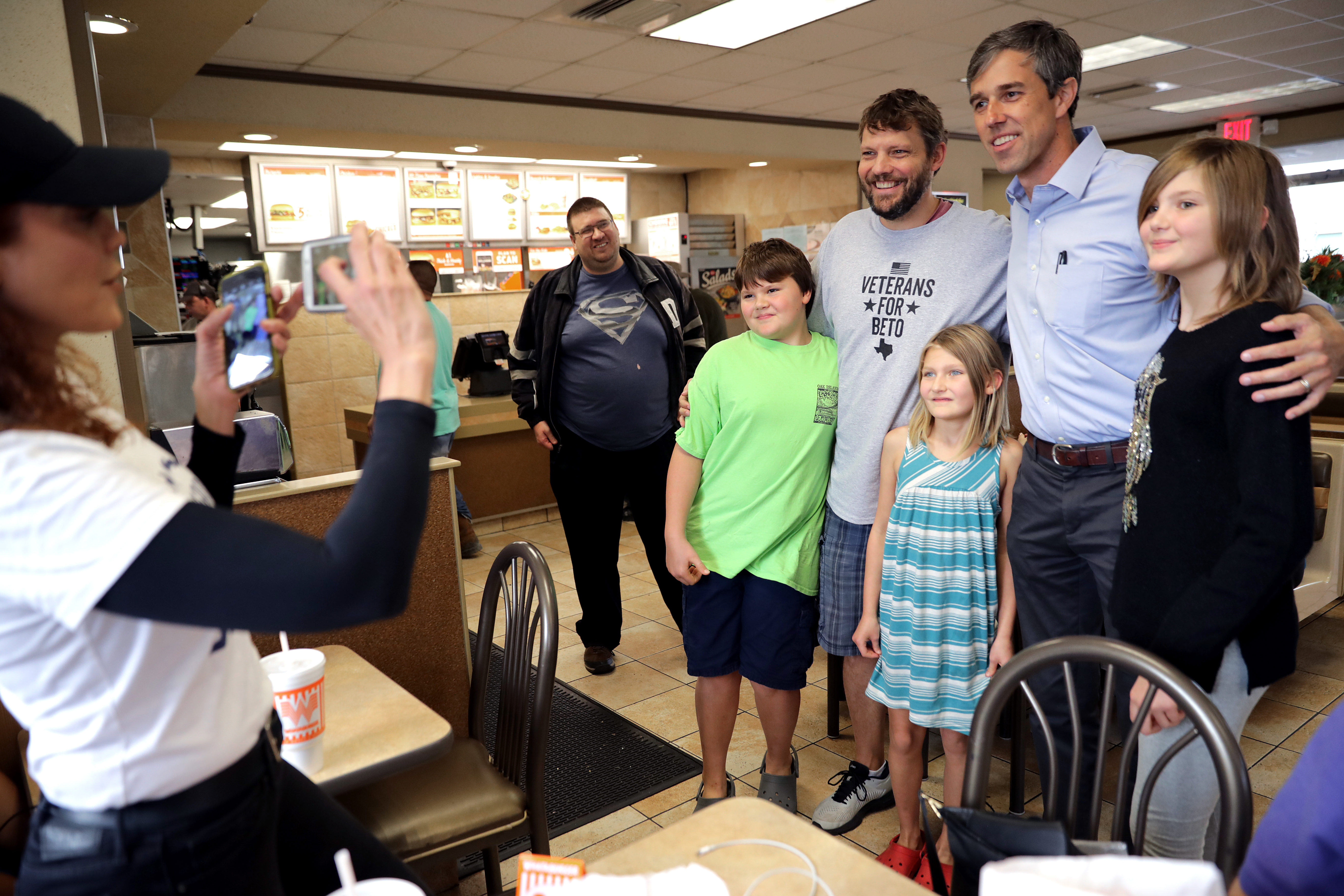 Senate candidate Rep. Beto O'Rourke poses for a photograph with supporters while eating lunch with his family and campaign staff at a Whataburger (Chip Somodevilla/Getty Images)