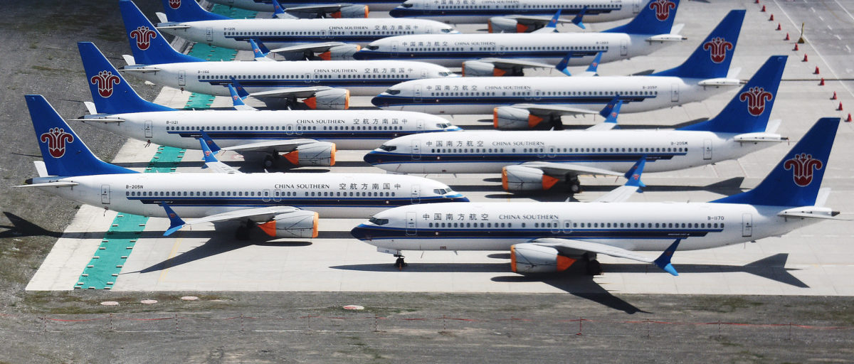 This photo taken on June 5, 2019 shows grounded China Southern Airlines Boeing 737 MAX aircraft parked in a line at Urumqi airport, in China's western Xinjiiang region. (GREG BAKER/AFP/Getty Images)