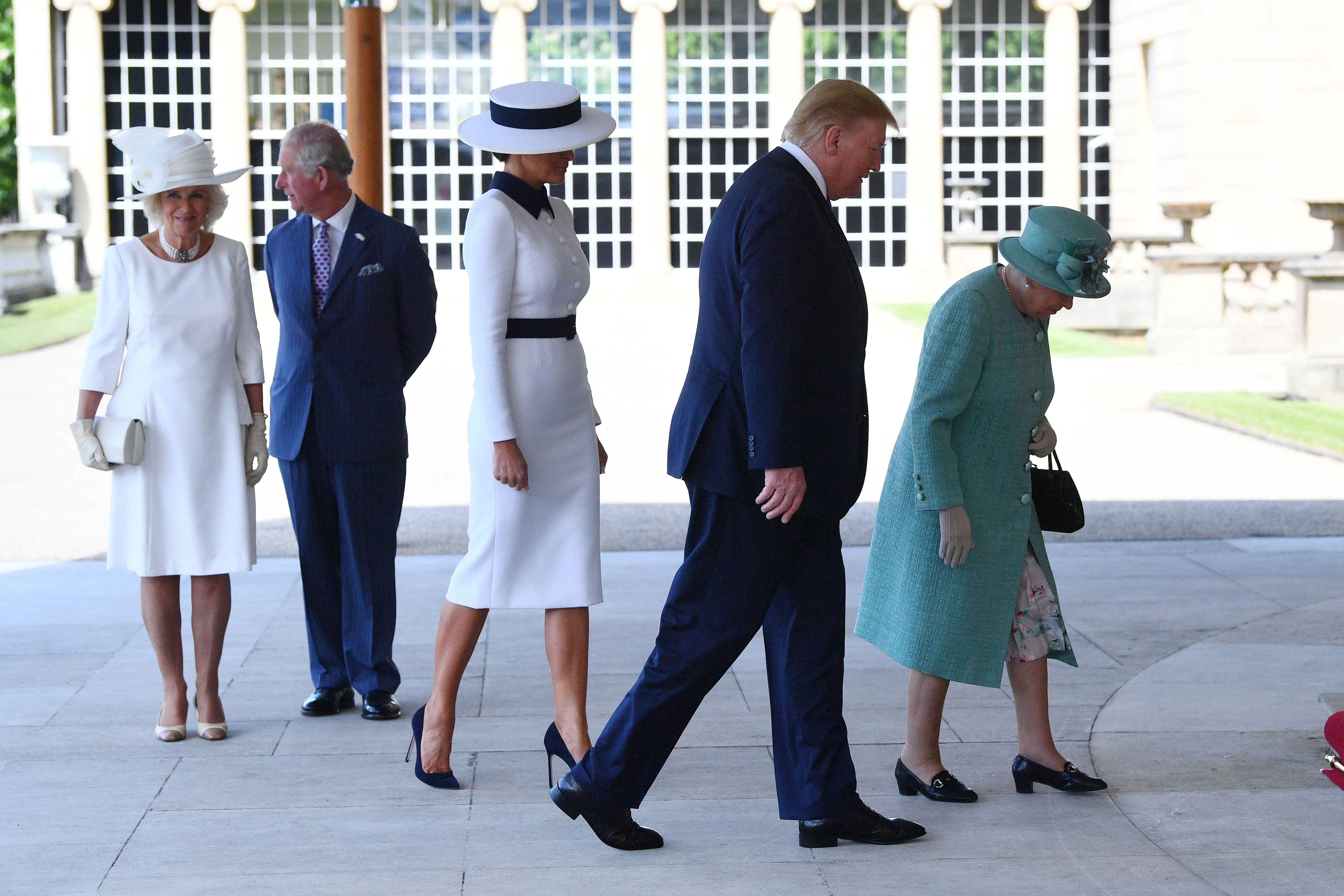 U.S. President Donald Trump and First Lady Melania Trump are greeted by Queen Elizabeth II, Camilla, Duchess of Cornwall and Prince Charles, Prince of Wales at Buckingham Palace on June 3, 2019 in London, England. (Victoria Jones - WPA Pool/Getty Images)
