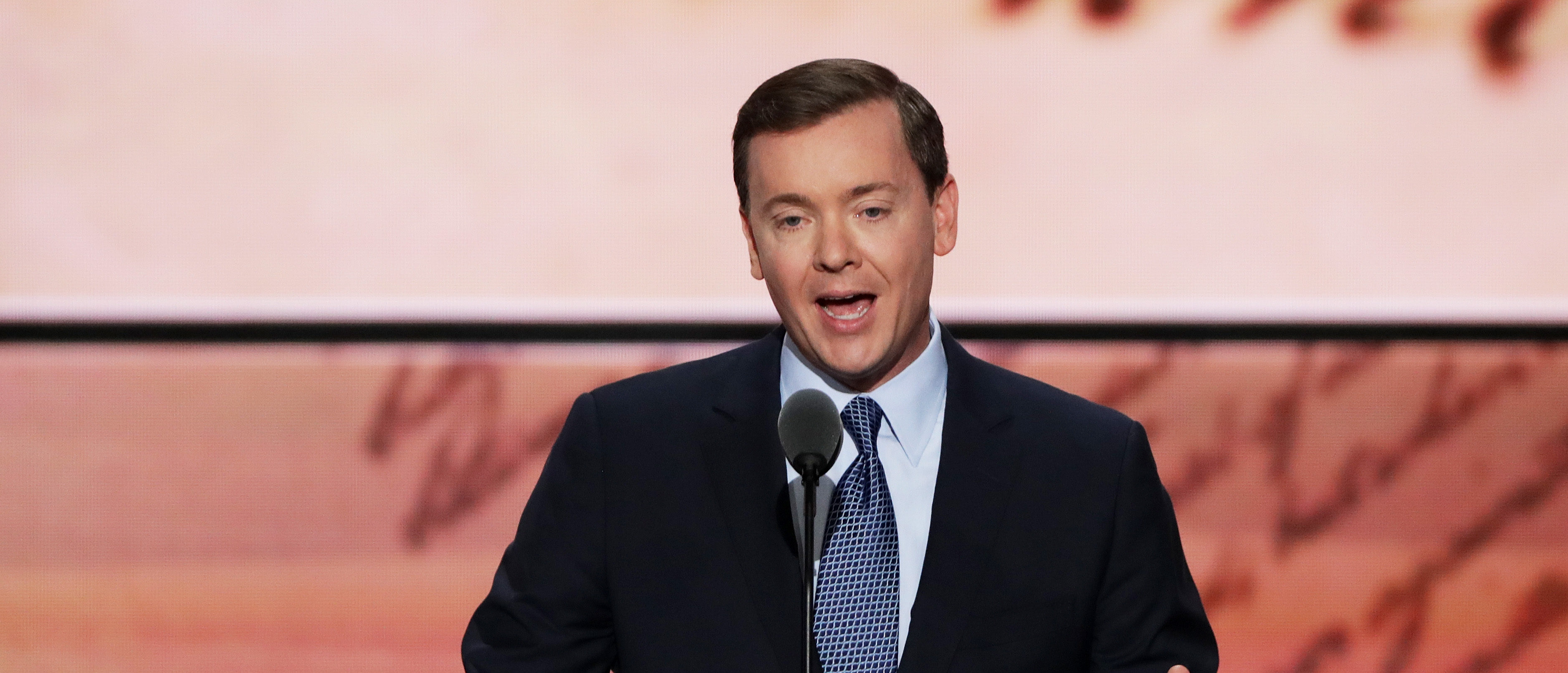 CLEVELAND, OH - JULY 19: Chris Cox, executive vice president of the National Rifle Association, delivers a speech on the second day of the Republican National Convention on July 19, 2016 at the Quicken Loans Arena in Cleveland, Ohio. Republican presidential candidate Donald Trump received the number of votes needed to secure the party's nomination. An estimated 50,000 people are expected in Cleveland, including hundreds of protesters and members of the media. The four-day Republican National Convention kicked off on July 18. (Photo by Alex Wong/Getty Images)
