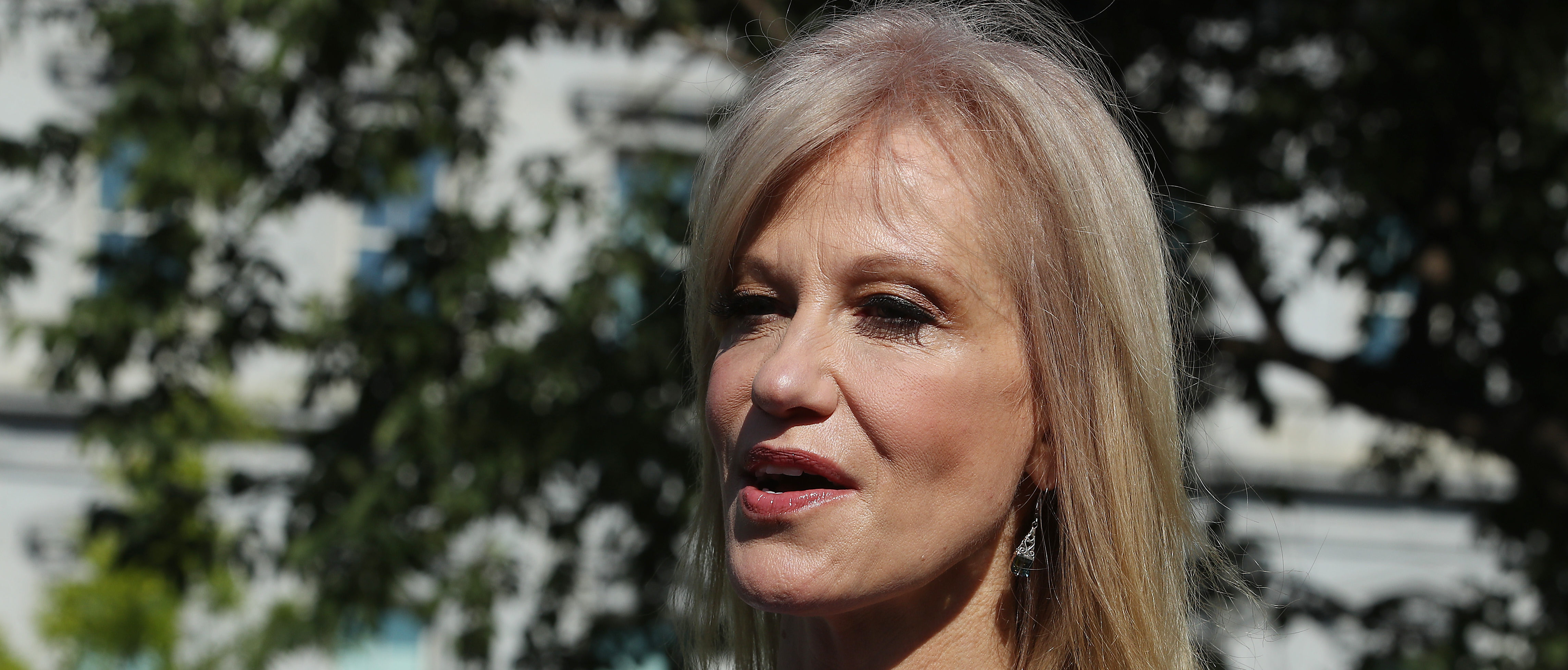 WASHINGTON, DC - JUNE 24: White House Counselor Kellyanne Conway speaks to the media after appearing on a morning talk show on the North Lawn of the White House, on June 24, 2019 in Washington, DC. Conway has been under fire for allegedly violating the Hatch Act. (Photo by Mark Wilson/Getty Images)