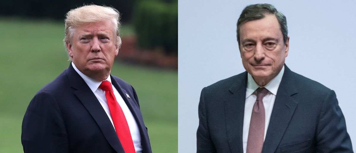 President Donald Trump (L) spent part of Tuesday morning complaining about the European Central Bank's president Mario Draghi (R) on Twitter on June 18, 2019. Mark Wilson/Getty Images and Thomas Lohnes/Getty Images