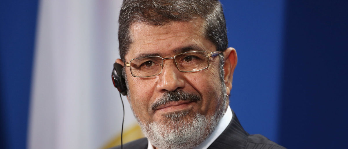 Egyptian President Mohamed Mursi speaks to the media with German Chancellor Angela Merkel (not pictured) following talks at the Chancellery on January 30, 2013 in Berlin, Germany. (Photo by Sean Gallup/Getty Images)