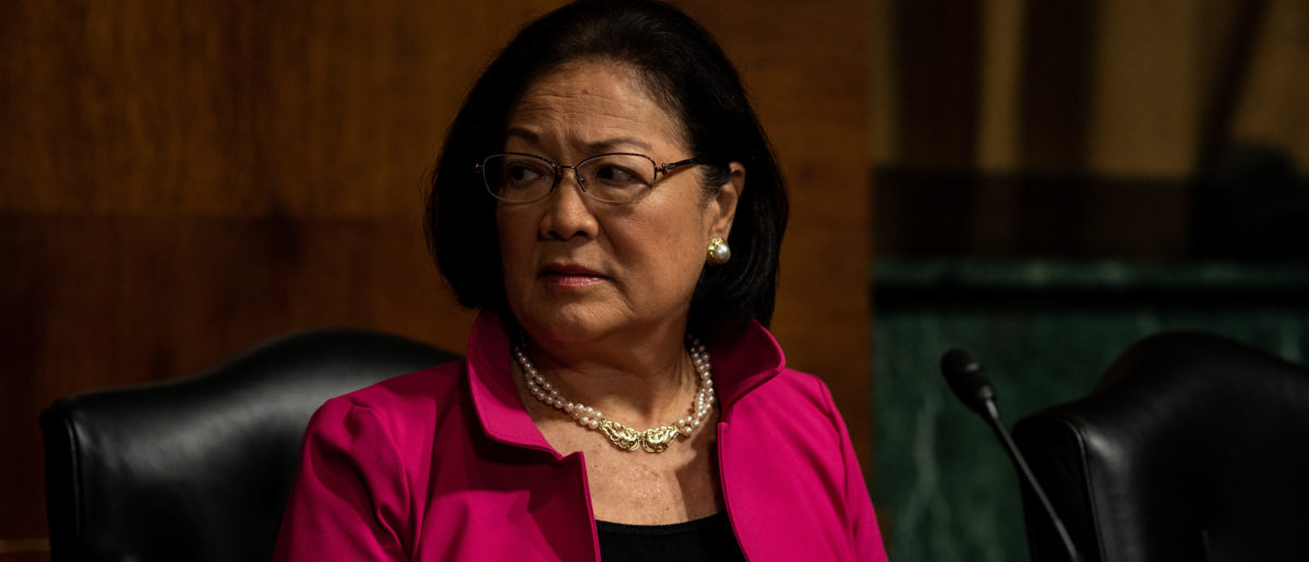 Sen. Mazie Hirono awaits the start of a Judiciary Committee hearing for testimony from Christine Blasey Ford and Supreme Court nominee Brett Kavanaugh. (Erin Schaff-Pool/Getty Images)
