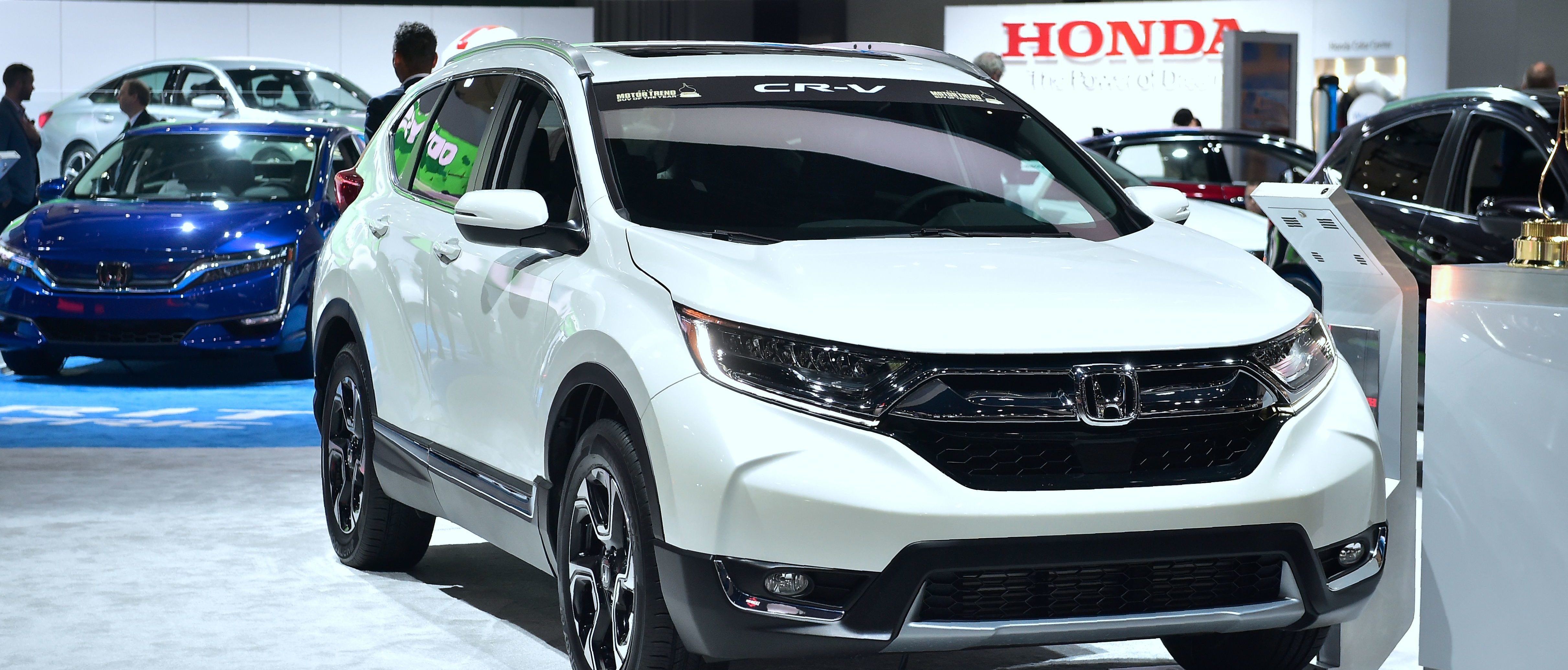 The 2018 Honda CR-V, Motor Trend Magazine's 2018 SUV of the Year is displayed at the 2017 LA Auto Show in Los Angeles, California on November 30, 2017, which opens to the public from December 1-10, 2017. (Photo by FREDERIC J. BROWN/AFP/Getty Images)