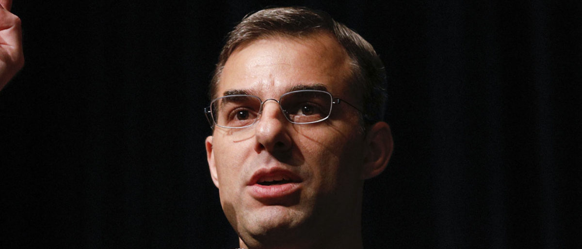 U.S. Rep. Justin Amash holds a Town Hall Meeting on May 28, 2019 in Grand Rapids, Michigan. Amash was the first Republican member of Congress to say that President Donald Trump engaged in impeachable conduct. (Photo by Bill Pugliano/Getty Images)