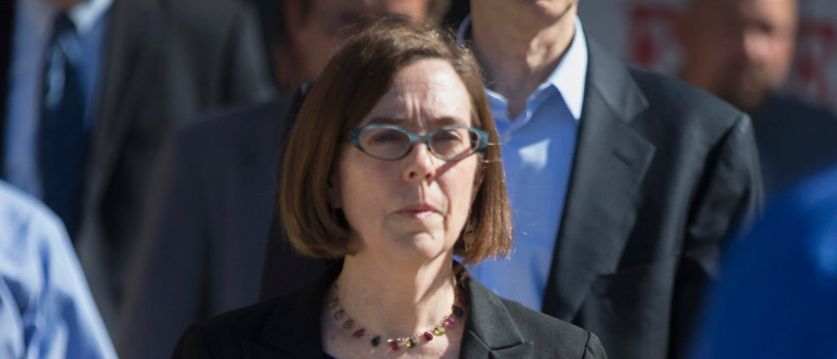 Oregon governor Kate Brown arrives for a press conference where she addressed the mass shooting at Umpqua Community College on October 2, 2015 in Roseburg, Oregon. (Photo by Scott Olson/Getty Images)