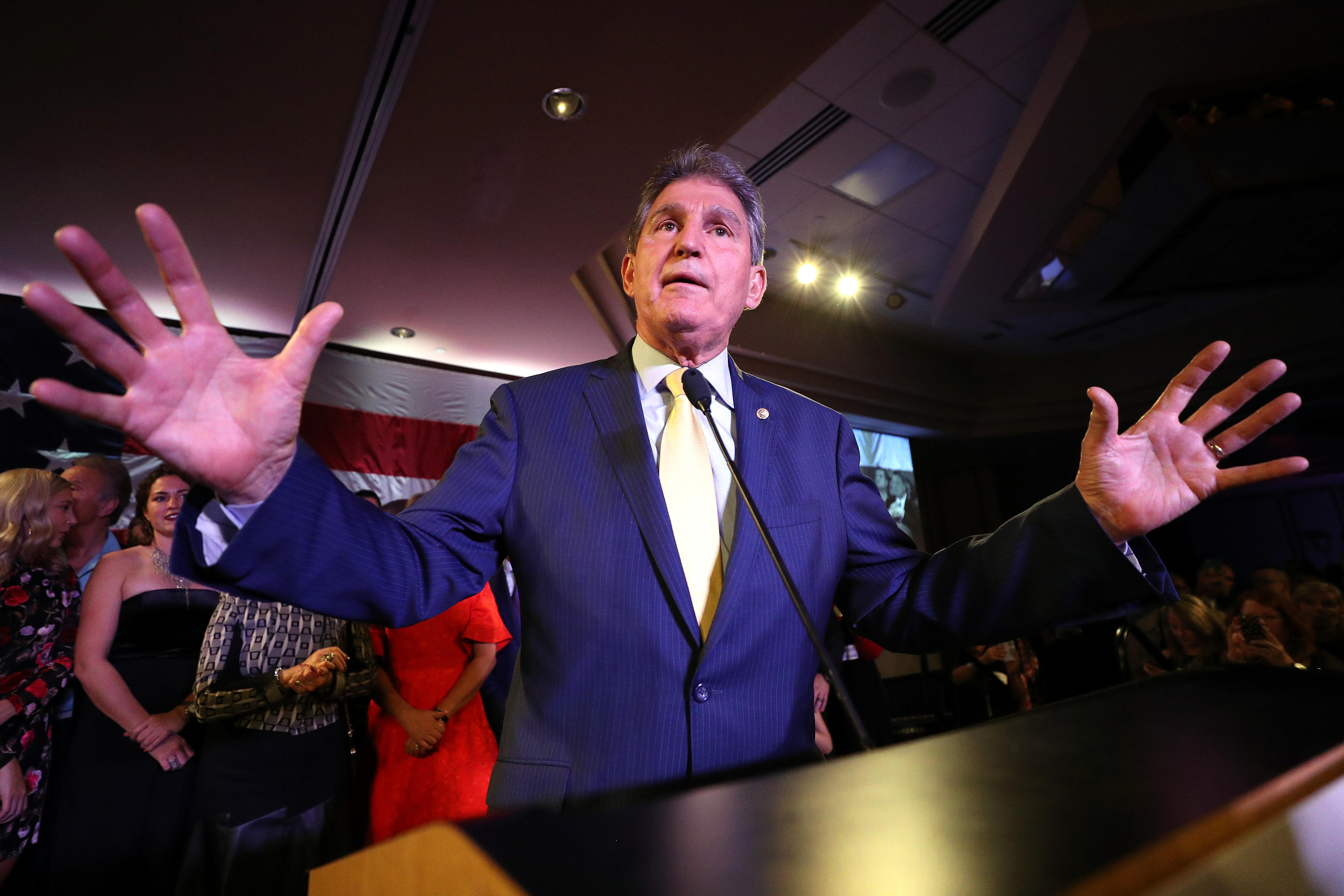 Sen. Joe Manchin celebrates at his election day victory party at the Embassy Suites on November 6, 2018 in Charleston, West Virginia. (Patrick Smith/Getty Images)