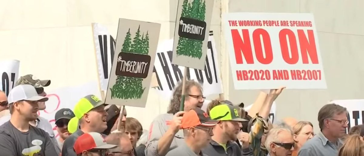 Oregonians protest HB 2020 in a video posted on June 20, 2019. YouTube screenshot/KPTV FOX 12 Oregon