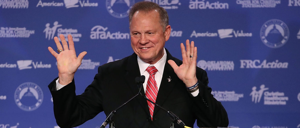Roy Moore, GOP Senate candidate and former chief justice on the Alabama Supreme Court speaks during the annual Family Research Council's Values Voter Summit (Mark Wilson/Getty Images)