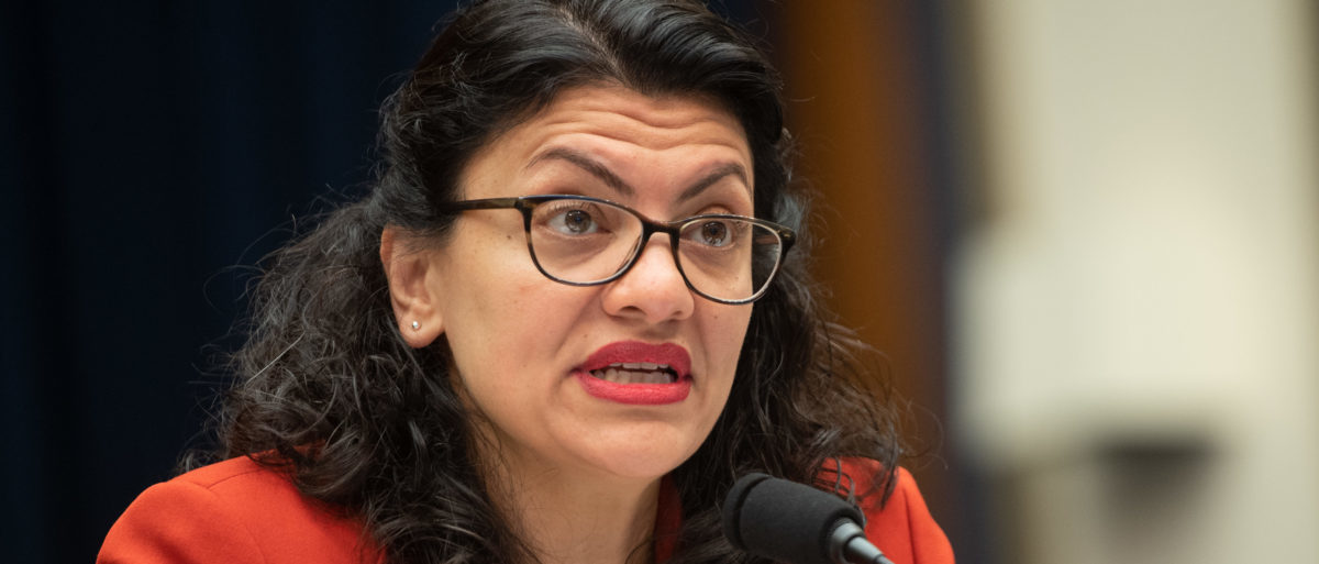 U.S. Rep. Rashida Tlaib, Democrat of Michigan, questions U.S. Secretary of Treasury Steven Mnuchin as he testifies during a House Committee on Financial Services hearing on Capitol Hill in Washington, D.C., May 22, 2019. (Photo by SAUL LOEB / AFP) (Photo credit should read SAUL LOEB/AFP/Getty Images)
