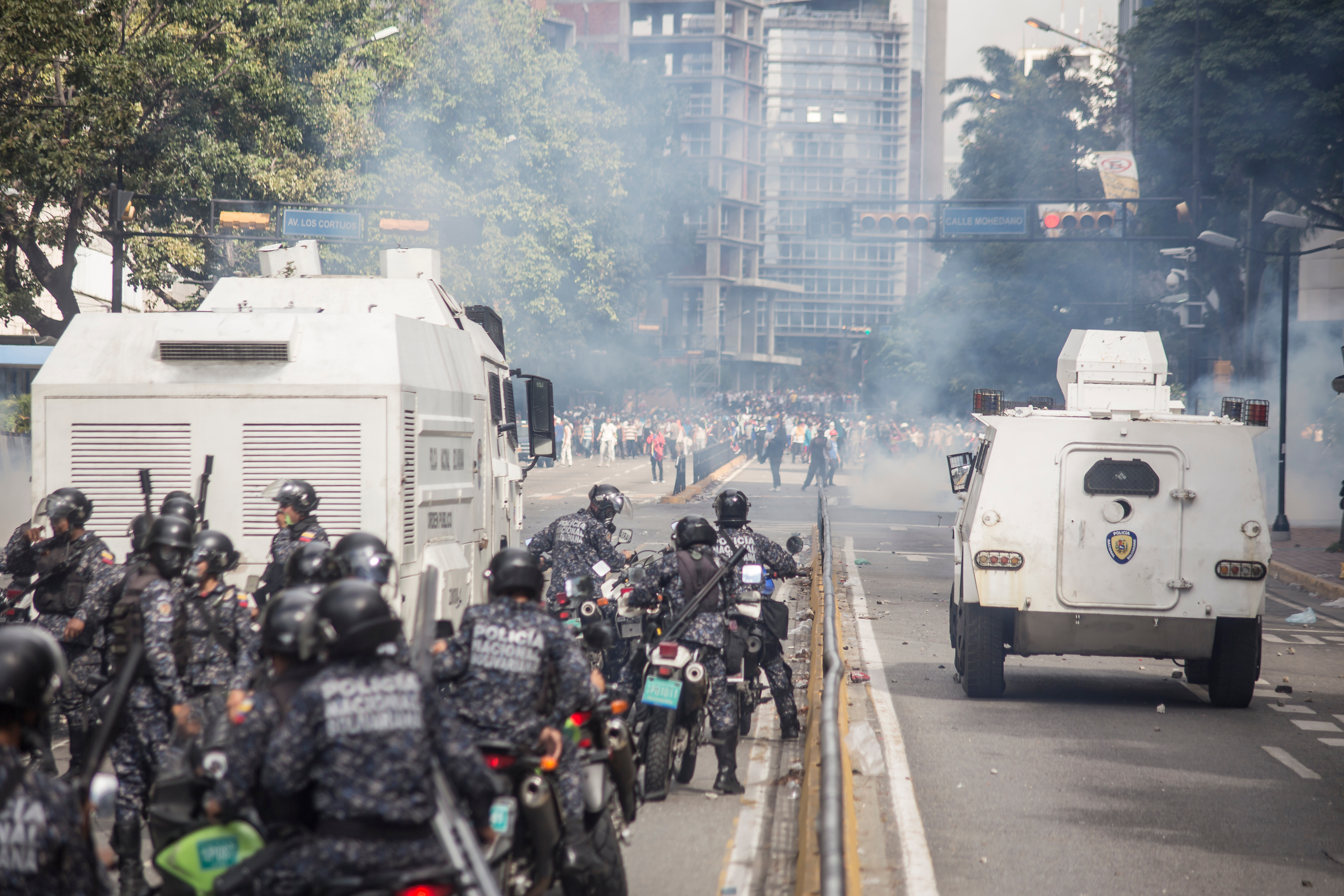 Caracas, Miranda/Venezuela - January 23rd 2019: Demonstrators clash with the police after attending rally in support of Venezuela's National Assembly President Juan Guaido. Ruben Alfonzo/Shutterstock