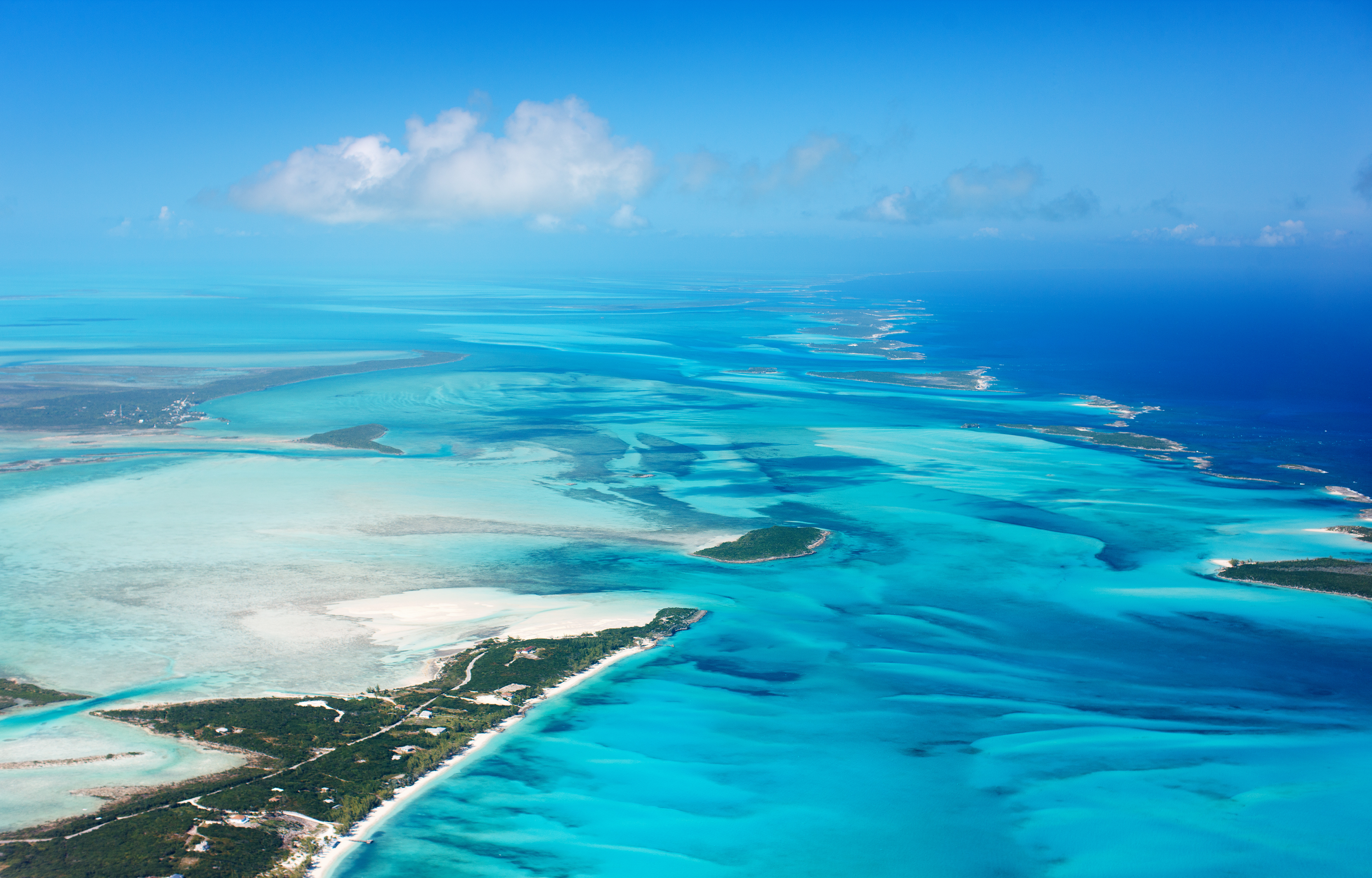 The Bahamas is show from an aerial view. Shutterstock image via OrangeBlue Studio