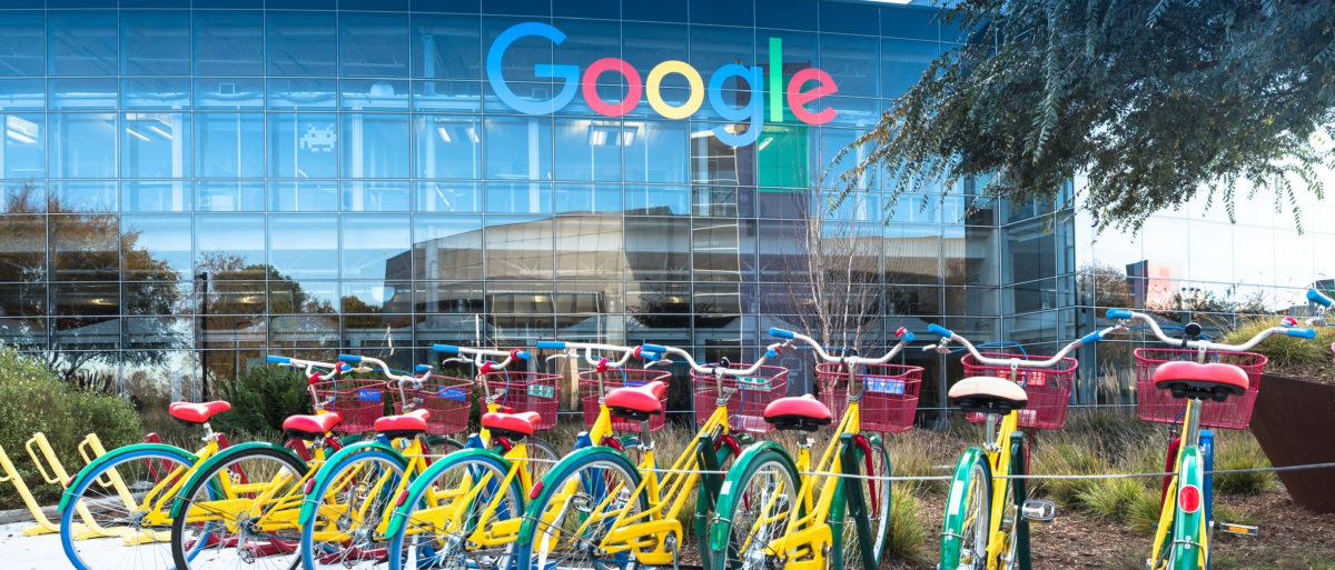 Google Headquarters with bikes on foreground in Mountain View, California, on December 29, 2016. Shutterstock image via Uladzik Kryhin