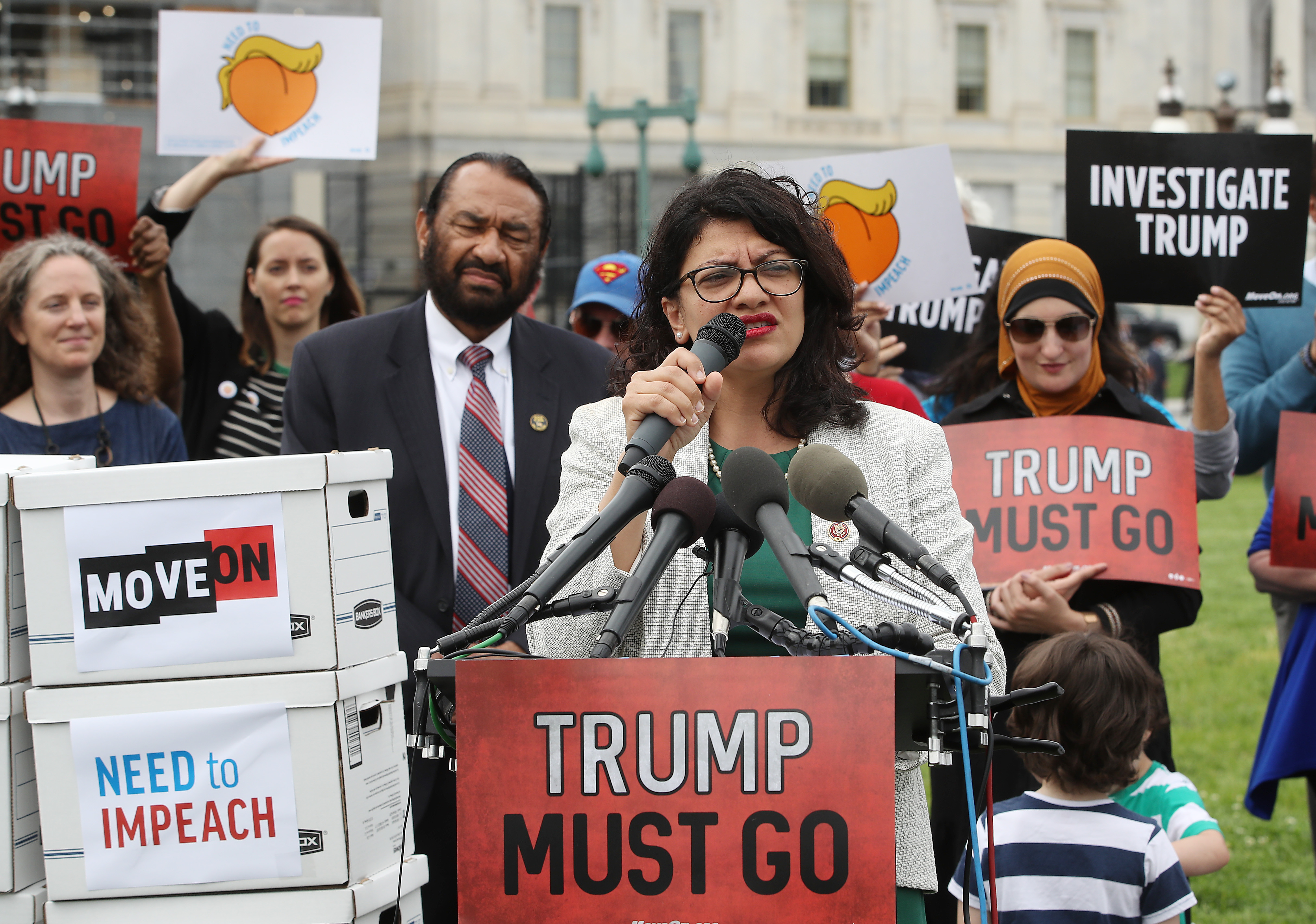 Rashida Tlaib speaks during an event with activist groups to deliver over ten million petition signatures to Congress urging the U.S. House of Representatives to start impeachment proceedings against President Donald Trump. (Mark Wilson/Getty Images)