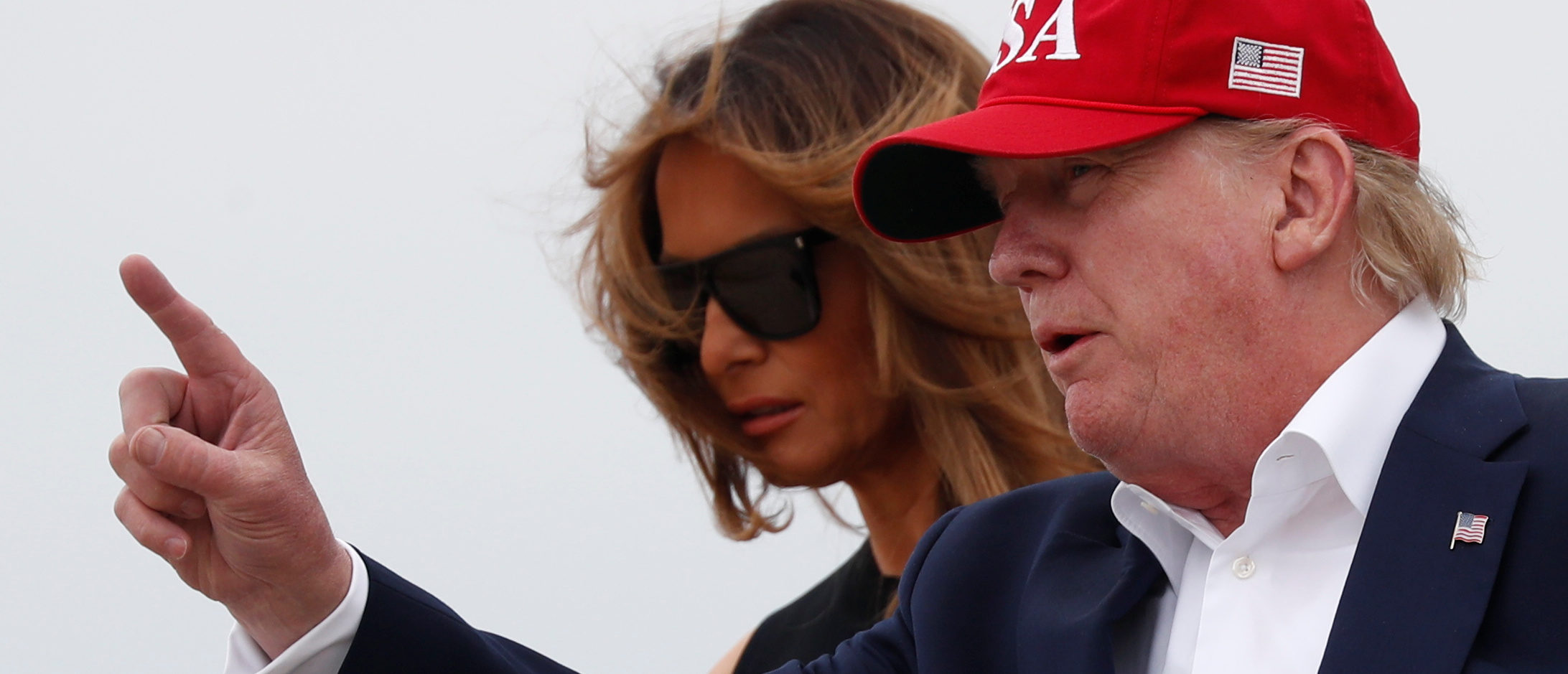 U.S. President Donald Trump and first lady Melania Trump disembark from Air Force One as they arrive following overseas travel at Joint Base Andrews, Maryland, June 7, 2019. REUTERS/Carlos Barria