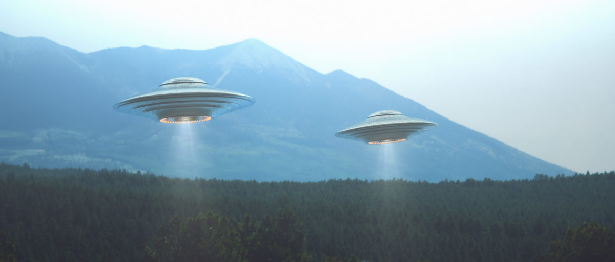 A rendering shows unidentified flying objects. Shutterstock image via ktsdesign