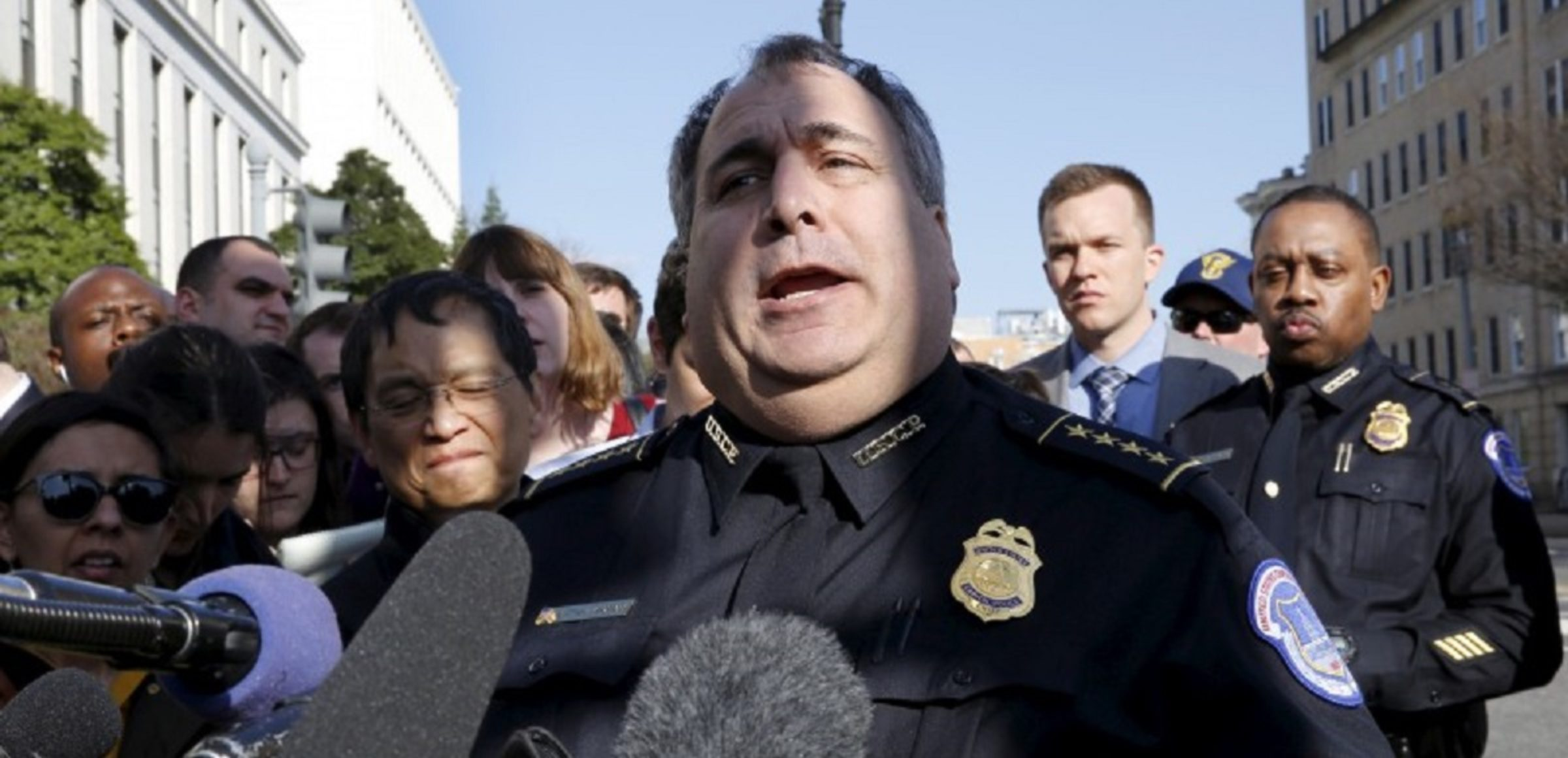 U.S. Capitol Police Chief Matthew Verderosa speaks to reporters about a shooting incident at the Capitol Visitor Center in Washington, March 28, 2016. REUTERS/Yuri Gripas