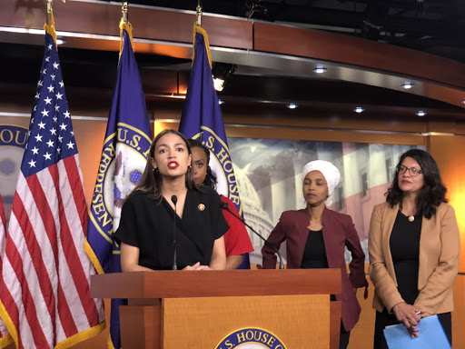 "Alexandria Ocasio-Cortez also addressed the President's tweets, stating that they four will ""not be slippin'."" (Photo courtesy of Henry Rodgers)"
